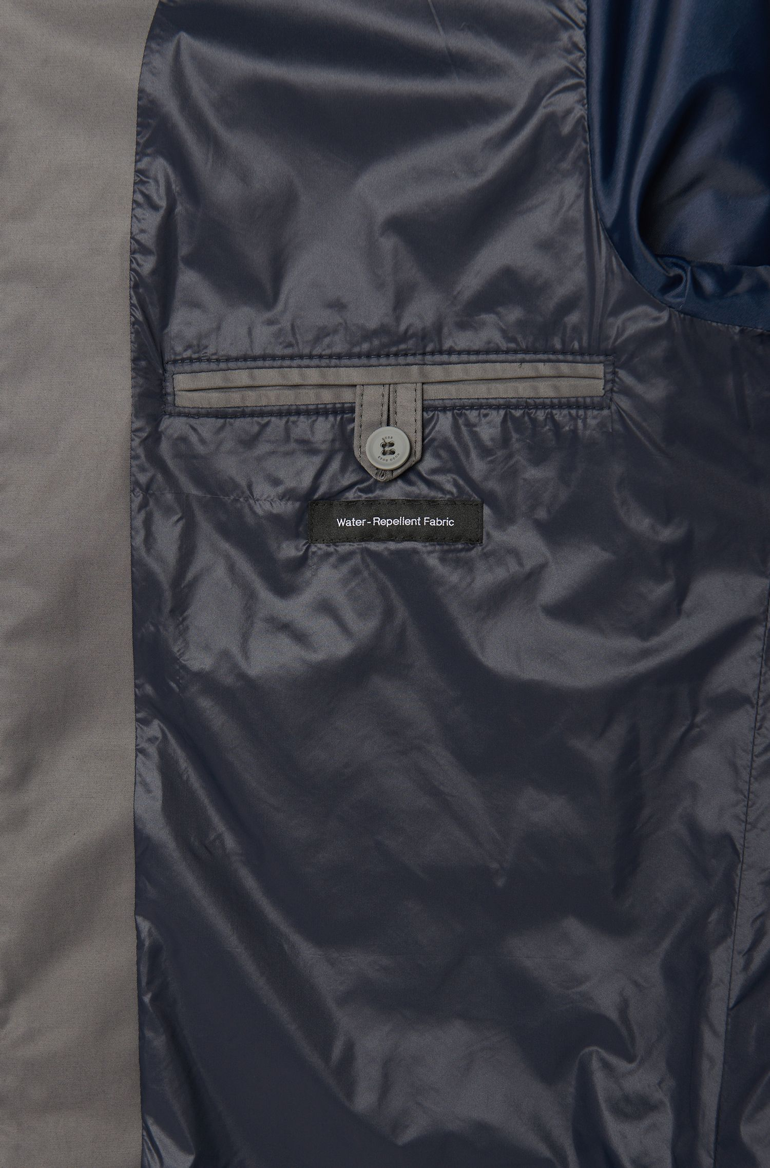 Blouson imperméable en coton mélangé doté d'un col mao et de poches à rabat: «Calmar»