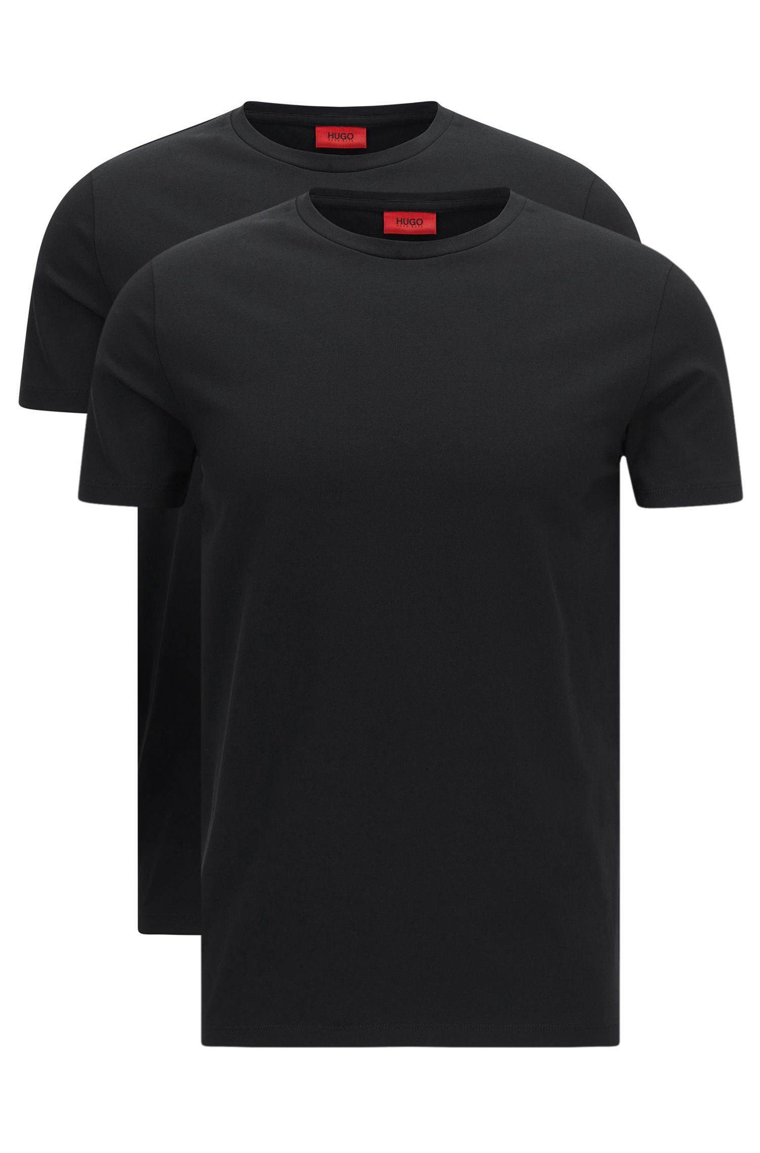 "Doppelpack Regular-Fit T-Shirt aus Stretch-Baumwolle: ""HUGO-Round"""
