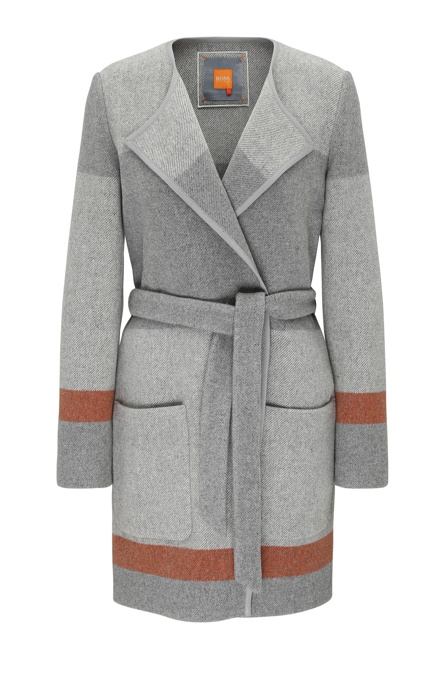Striped relaxed-fit wrap coat in wool blend: 'Origa'