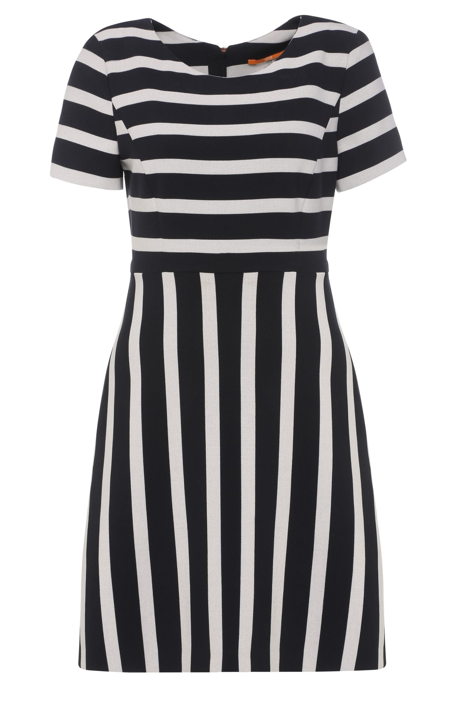 Striped regular-fit dress in fabric blend with viscose: 'Amody'