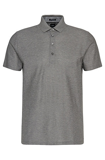 Regular-Fit Tailored Poloshirt aus Baumwolle mit grafischem Struktur-Muster: 'T-Perry 10', Grau