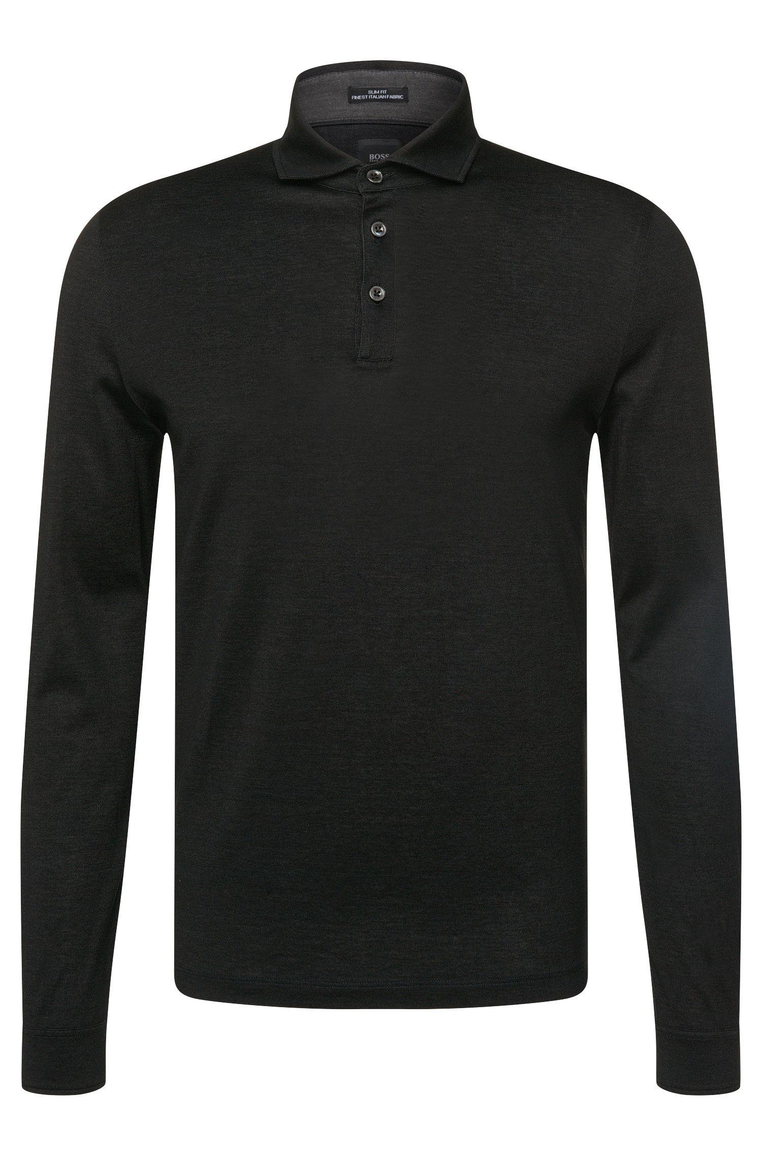 Slim-Fit Tailored Longsleeve-Poloshirt aus Baumwolle: 'T-Morrison 08'