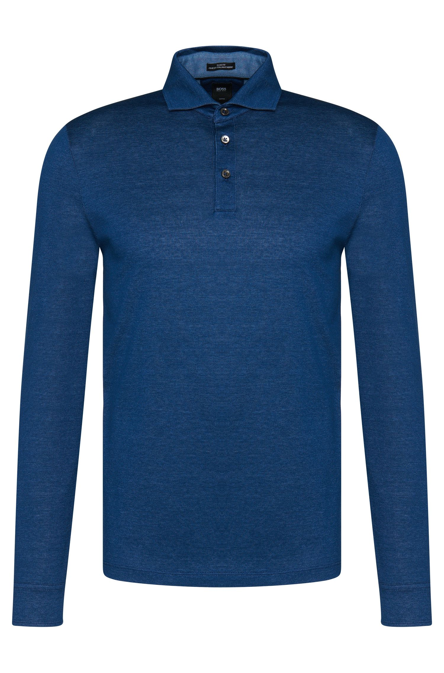 Slim-fit Tailored long-sleeved polo shirt in cotton: 'T-Morrison 08'