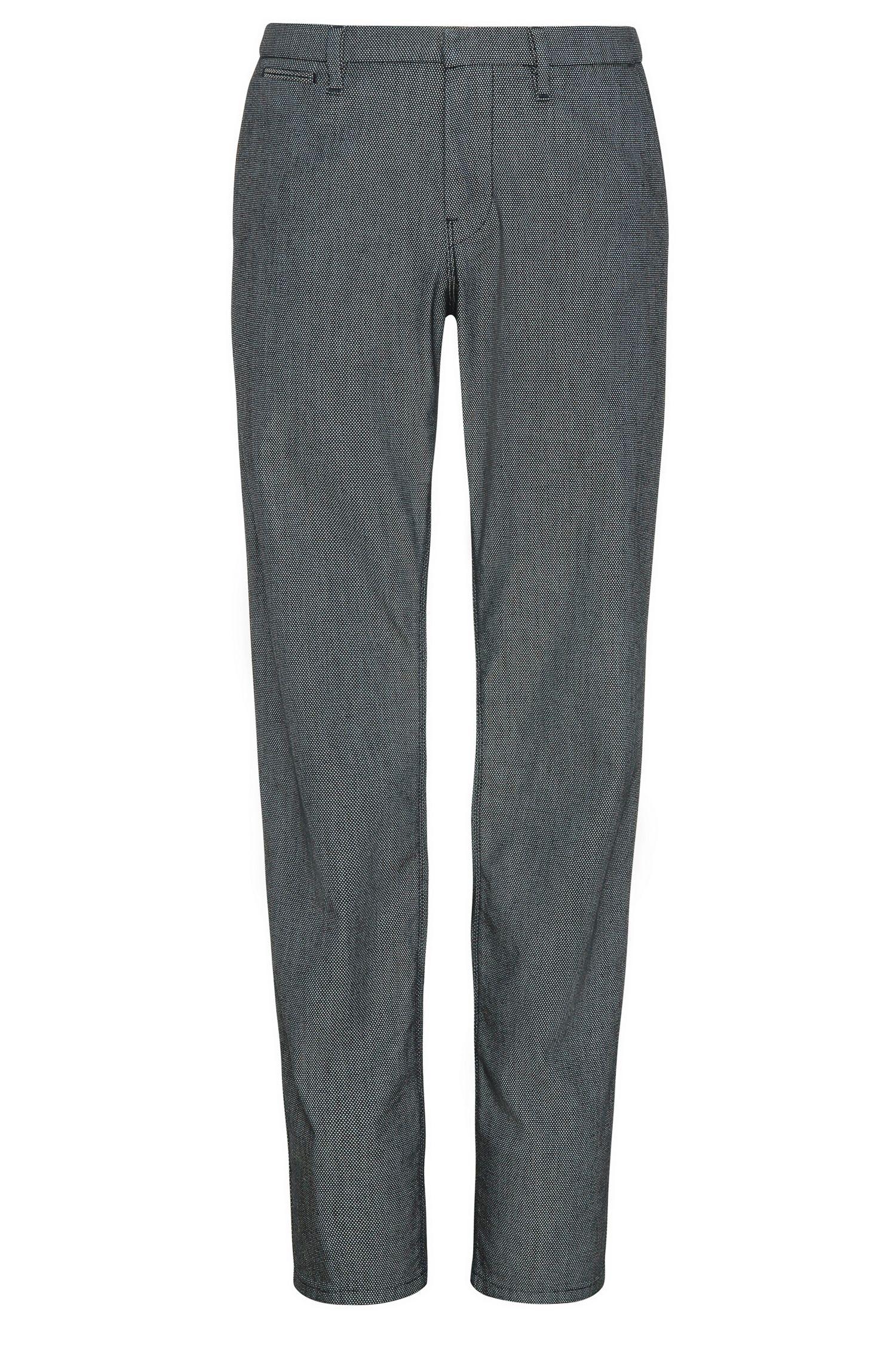 Slim-fit chinos in textured cotton blend with elastane: 'Slim3-W'