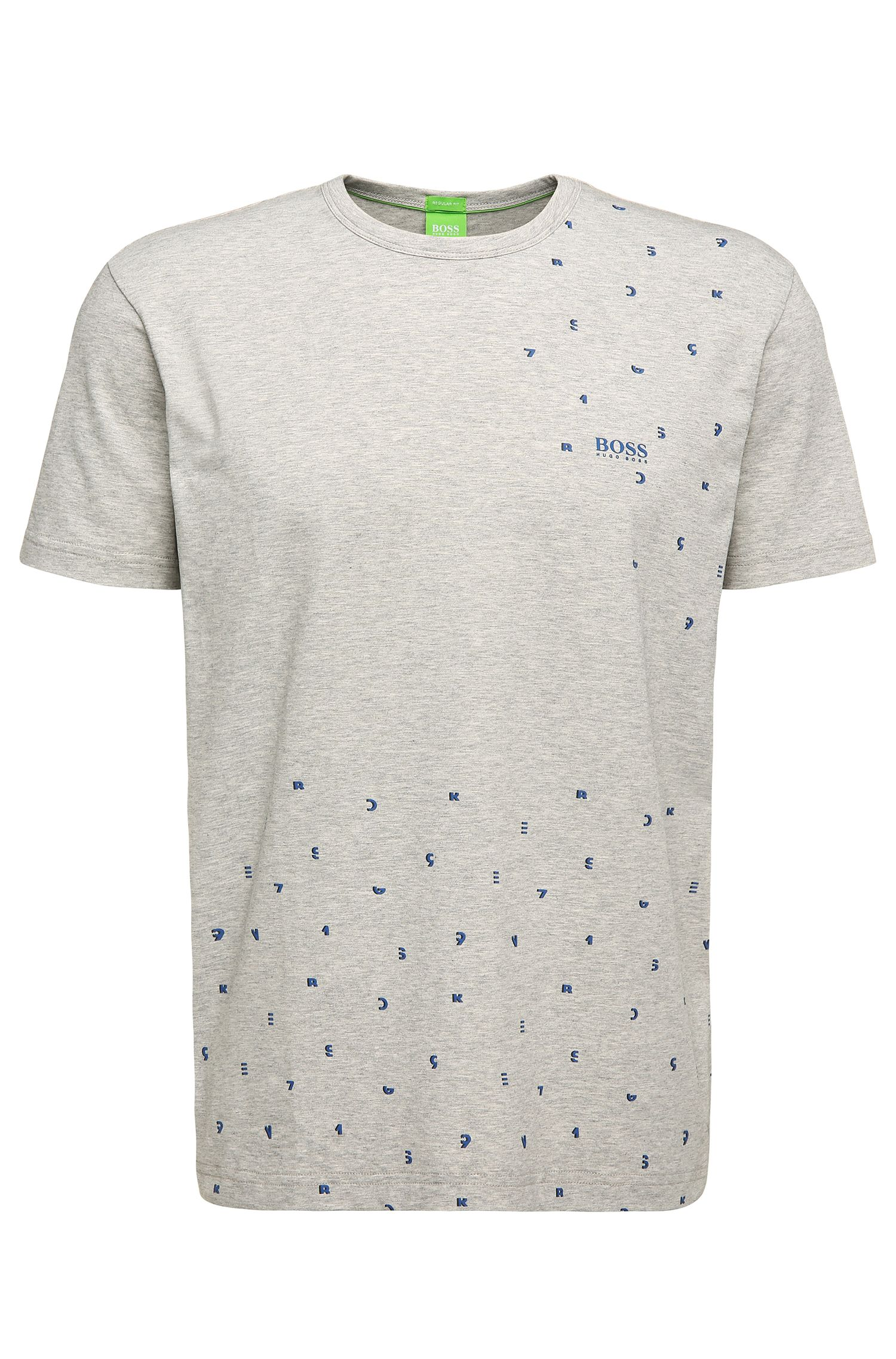 Regular-fit T-shirt van stretchkatoen met print: 'Tee 7'