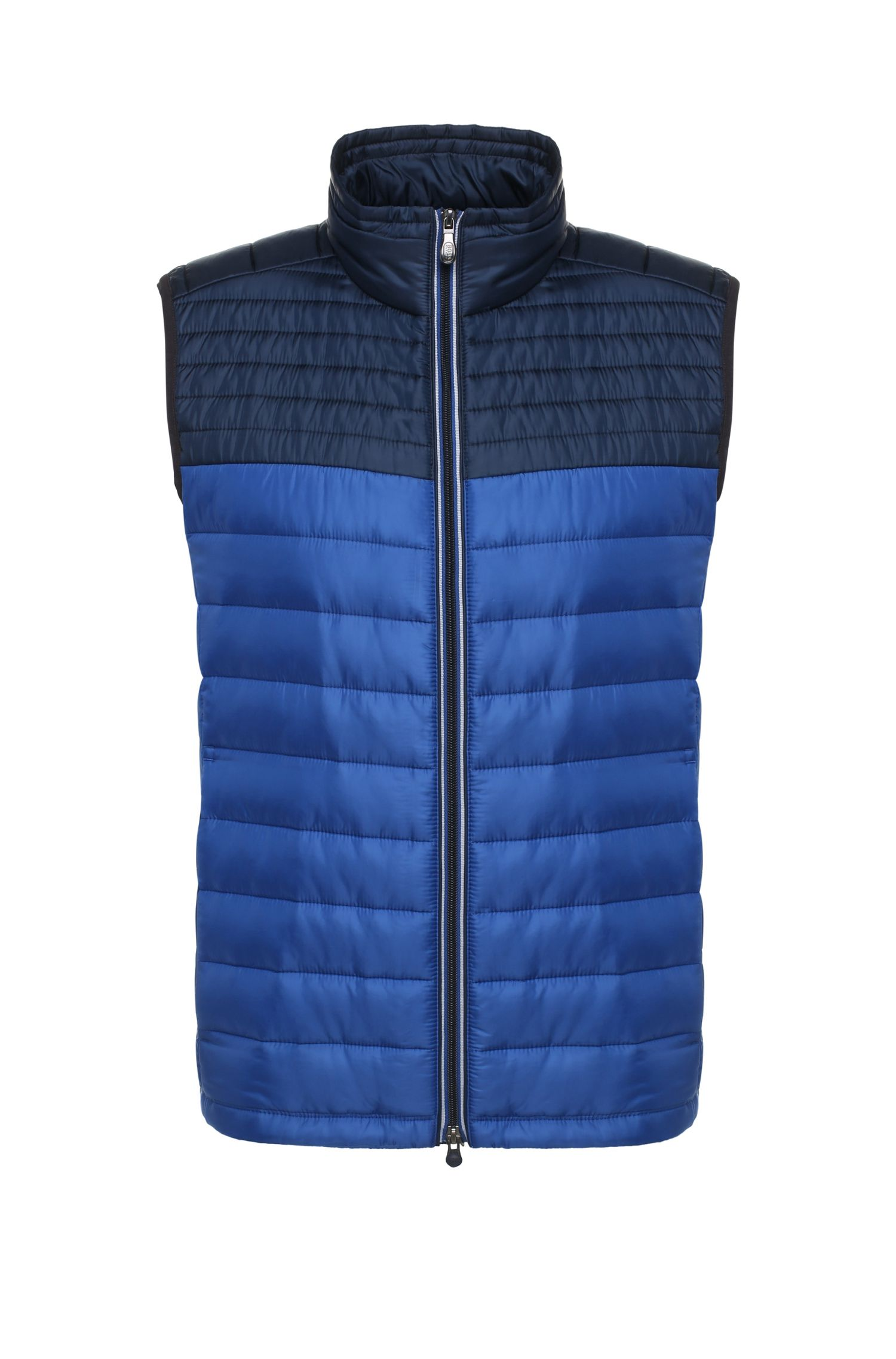 Slim-fit waistcoat in quilted fabric blend: 'Veon 1'