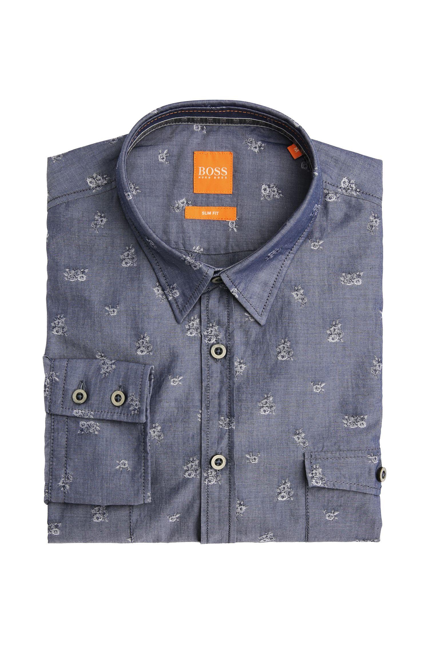 Gemustertes Slim-Fit Hemd aus Baumwolle: ´EdoslimE`