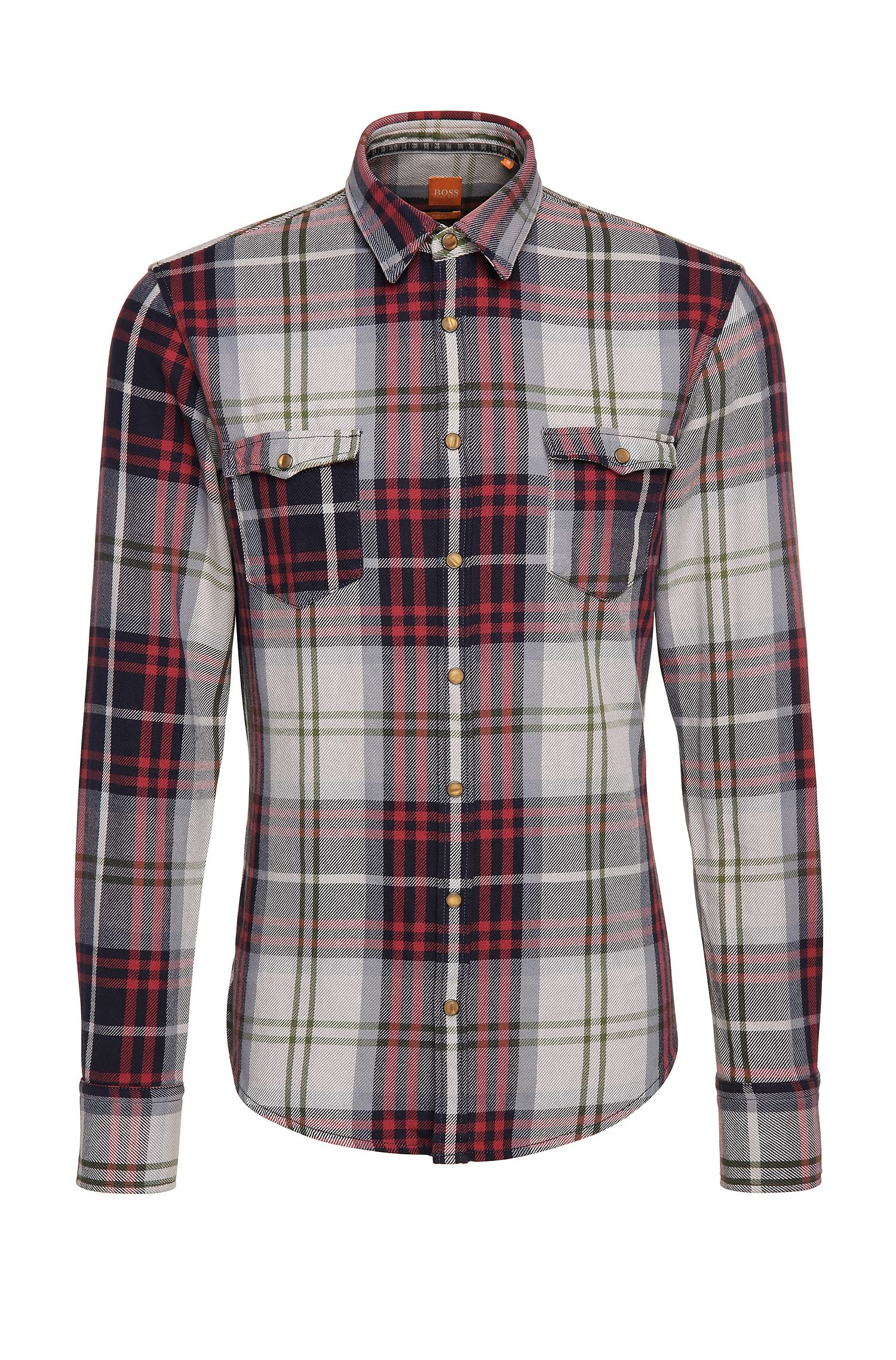Camisa slim fit de algodón con estampado de cuadros: 'EdoslimE'