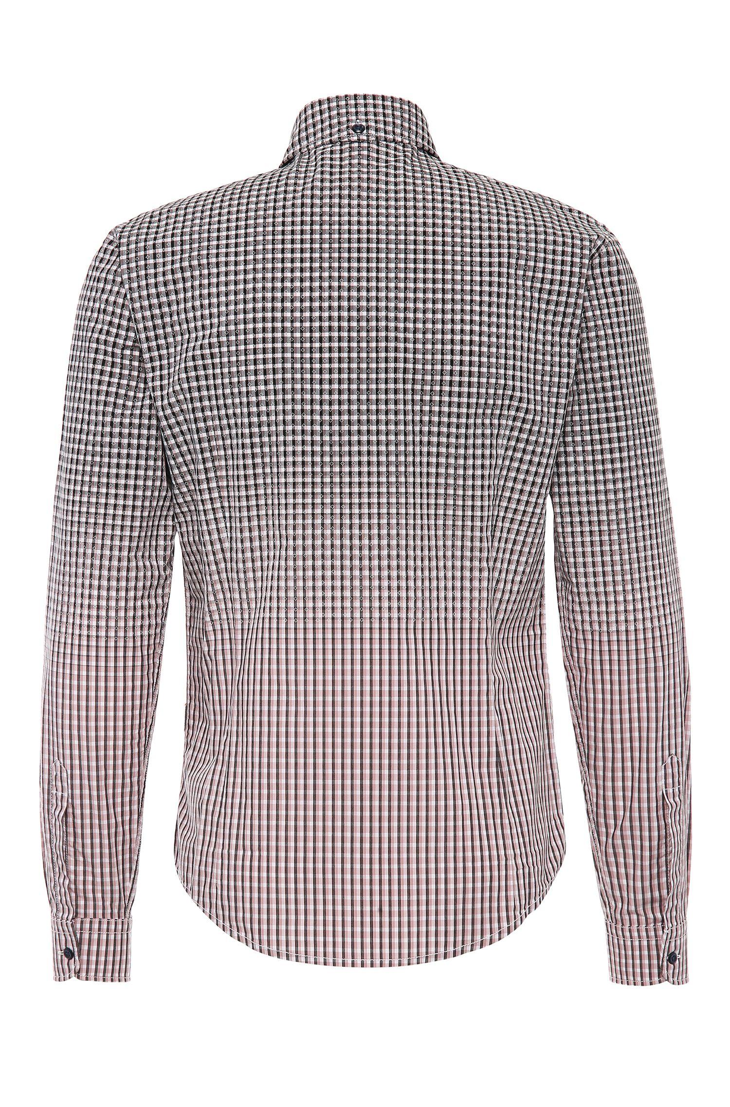 Geruit slim-fit overhemd van katoen met kleurverloop: 'EnameE1'