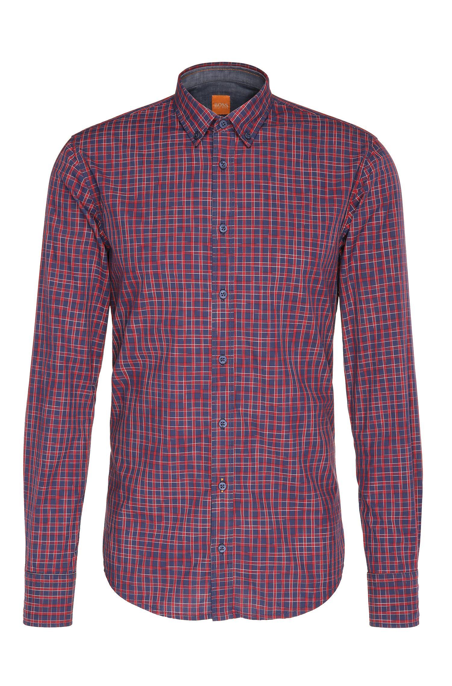 Slim-fit overhemd van katoen met ruiten: 'EdipoE'