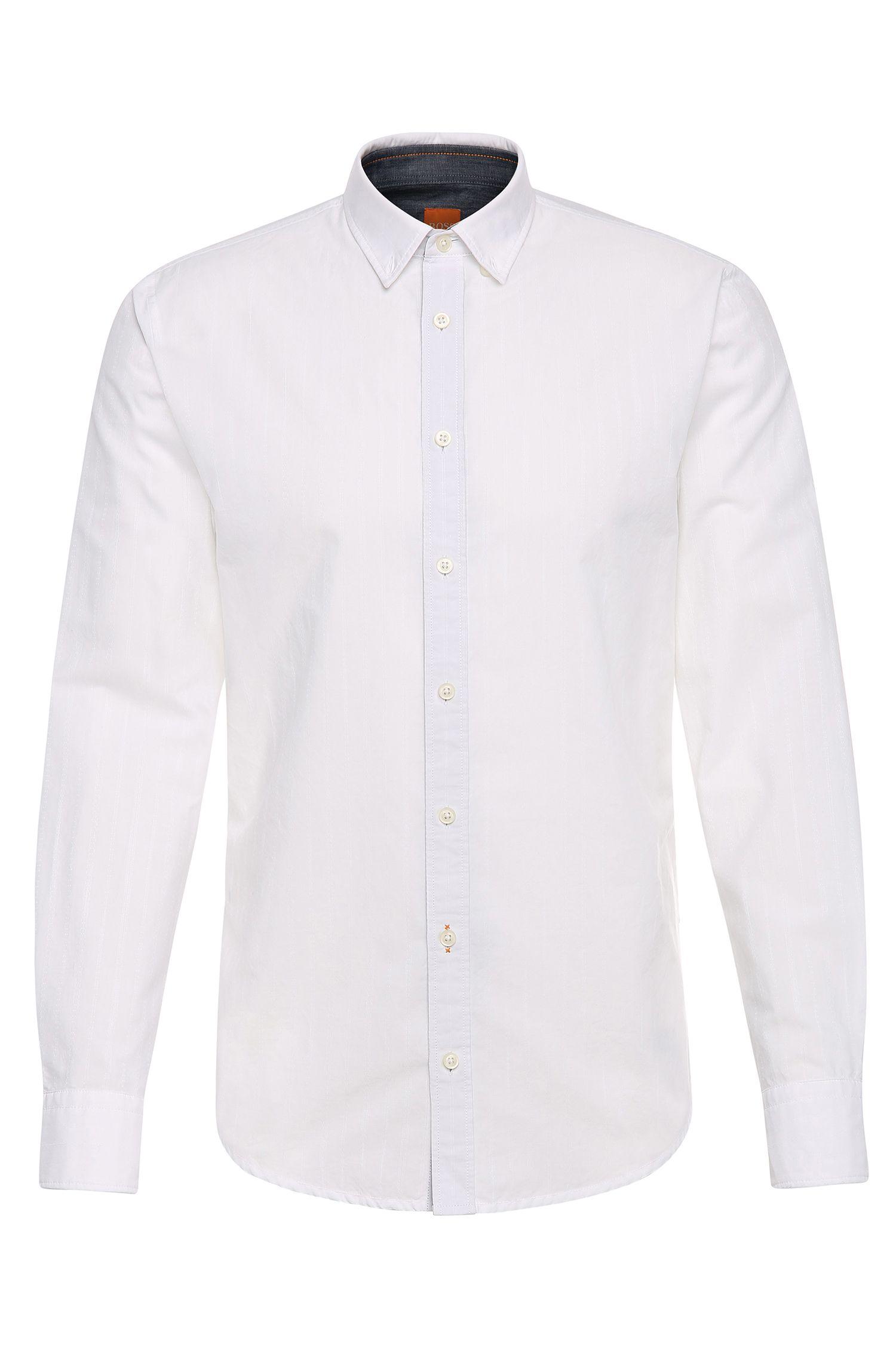 Slim-Fit Hemd aus Baumwolle im Streifen-Dessin: