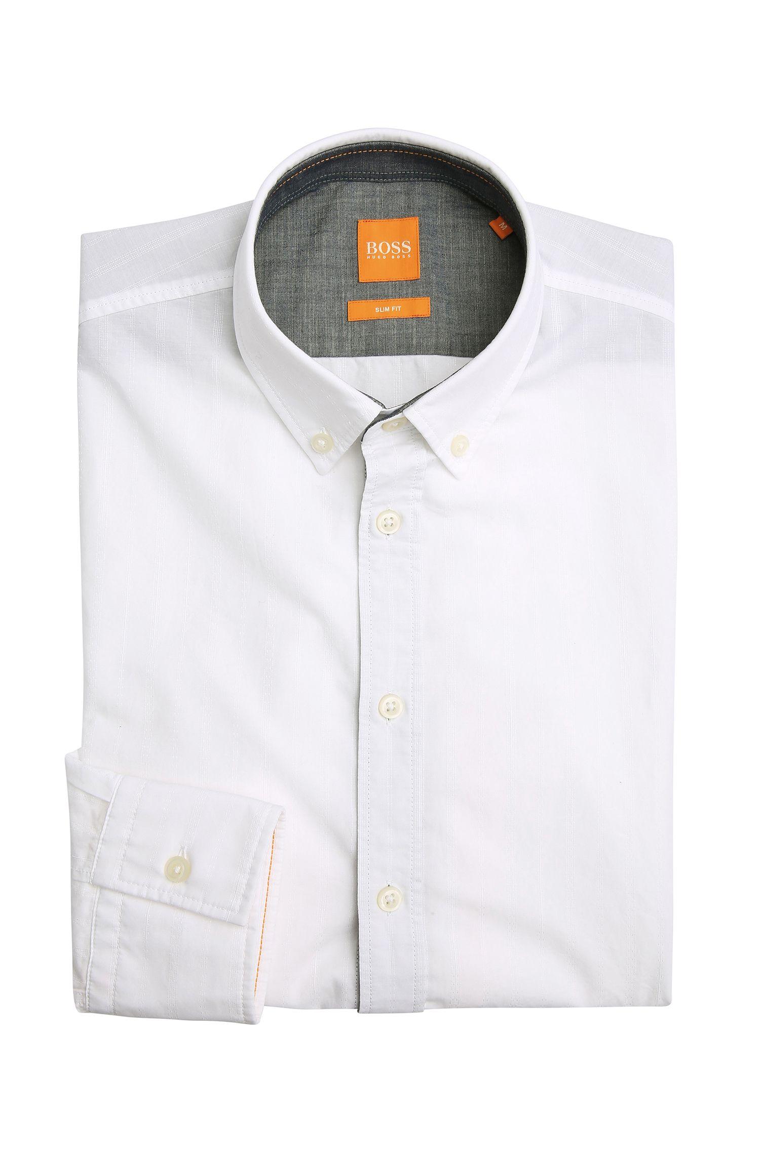 Slim-fit overhemd van gestructureerde katoen: 'EdipoE'