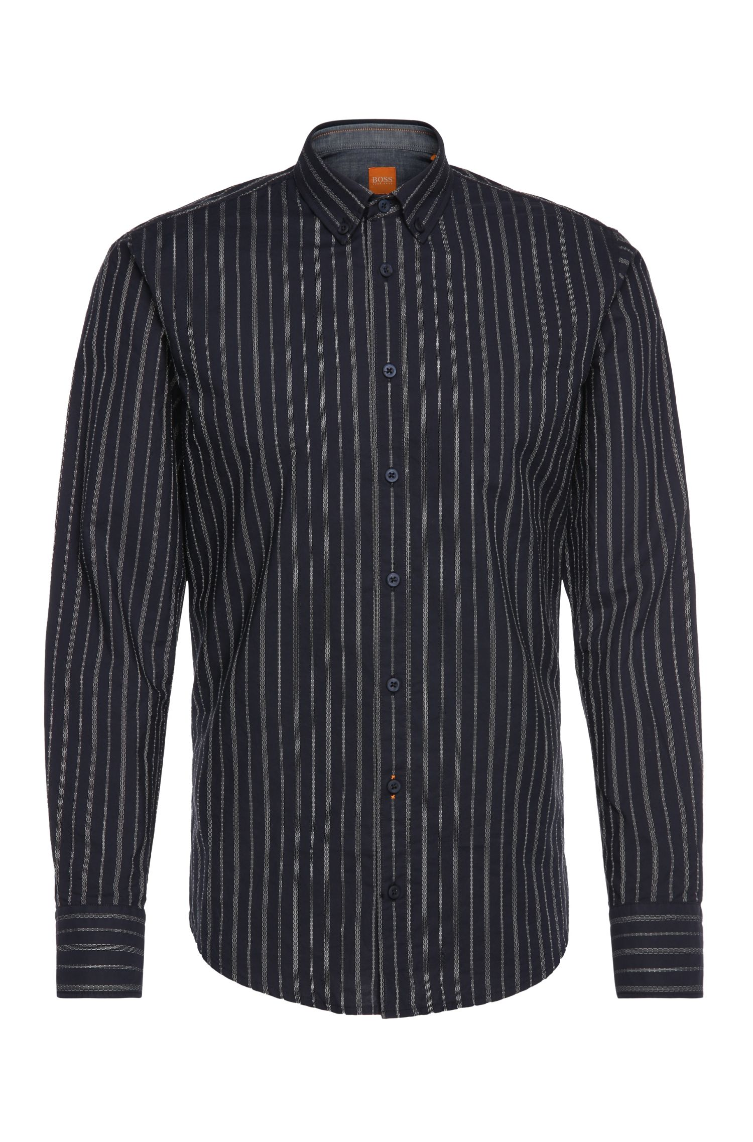 Slim-fit shirt in textured cotton: 'EdipoE'