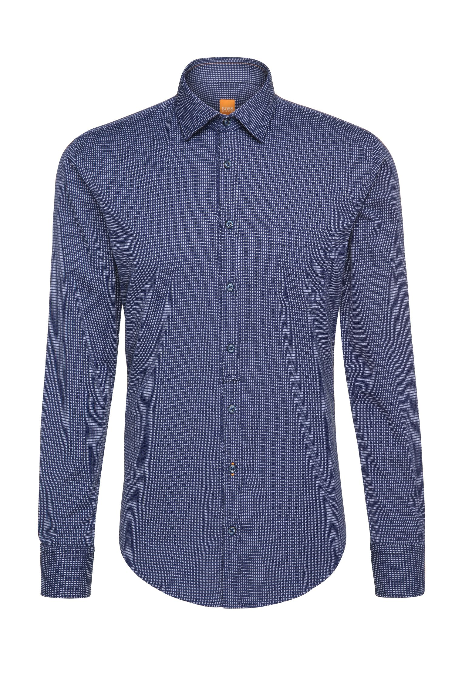 Finely patterned slim-fit cotton shirt: 'EslimE1'