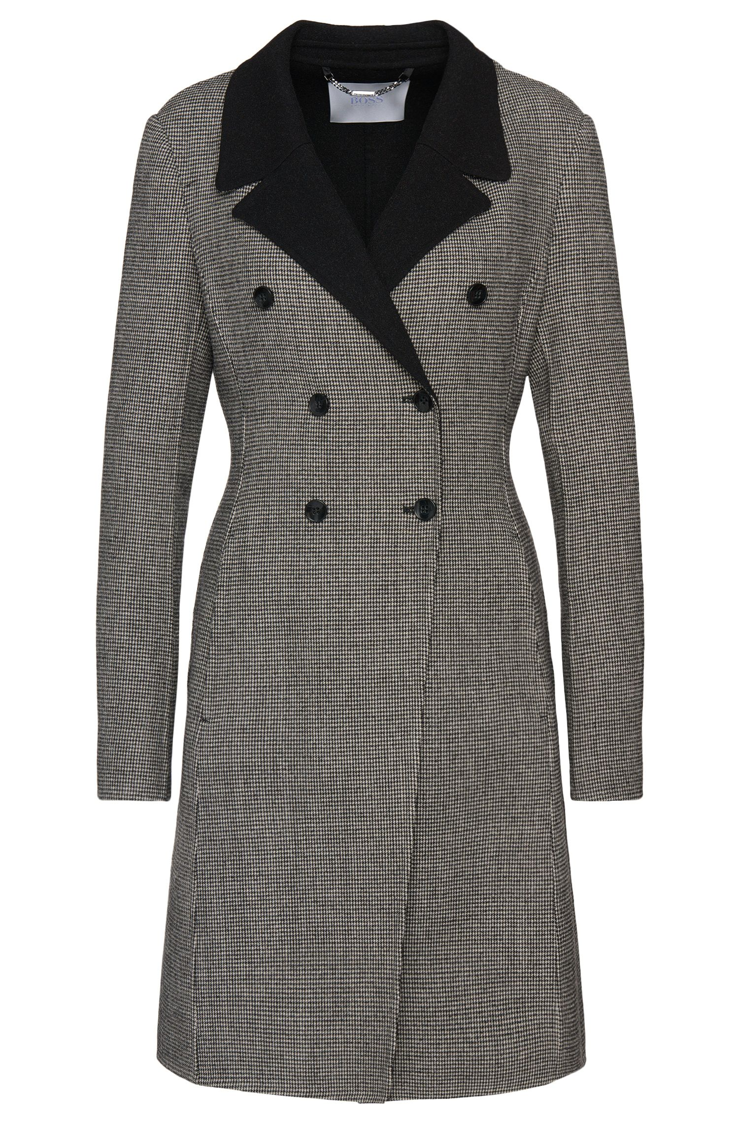 Coat in stretchy wool blend with houndstooth pattern: 'Cucina1'