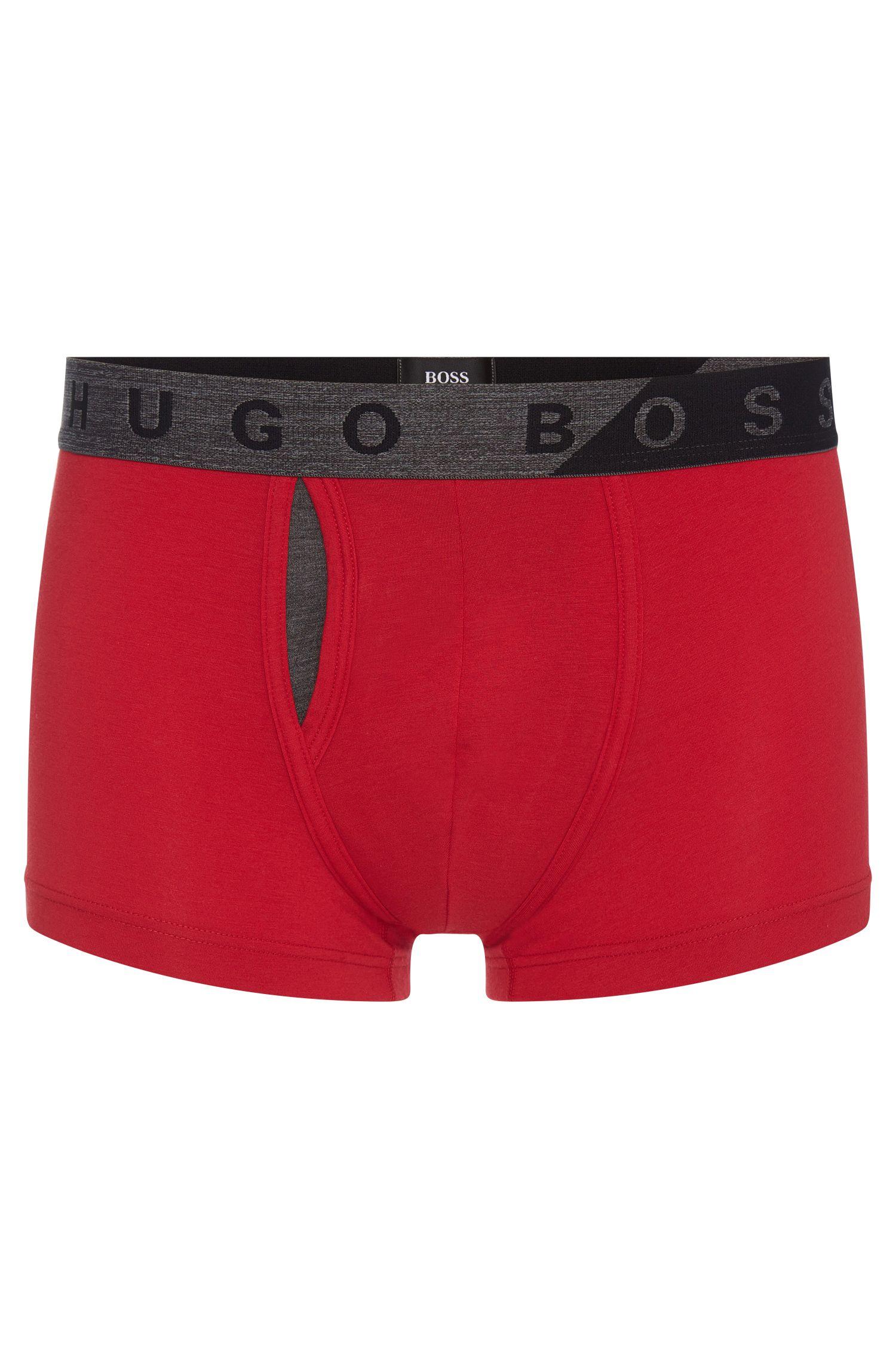 Boxer uni en coton mélangé extensible à teneur en modal: «Trunk Comfort»