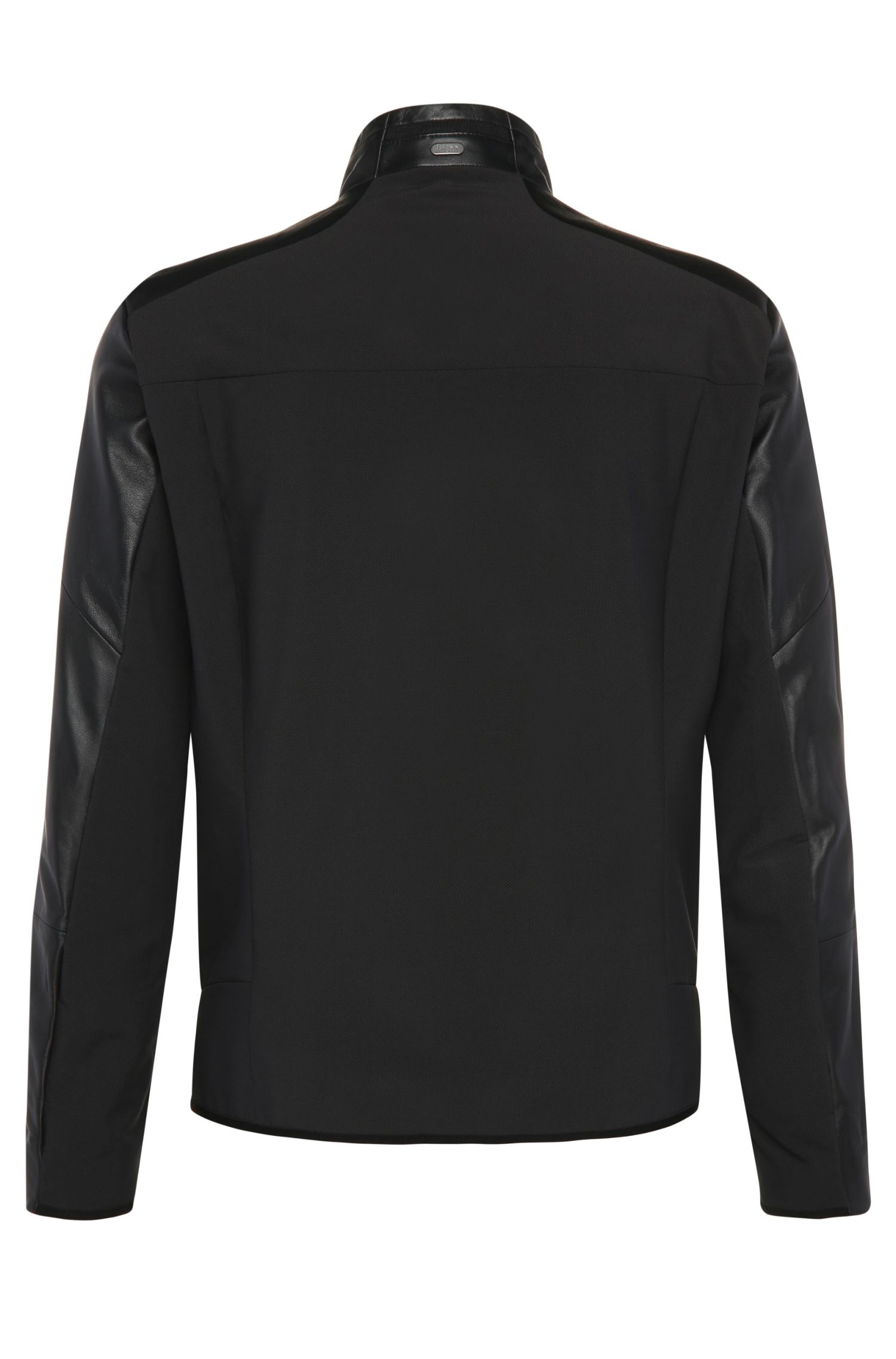 Slim-Fit Biker-Jacke aus Leder und strukturiertem Gewebe: ´Jybrid`
