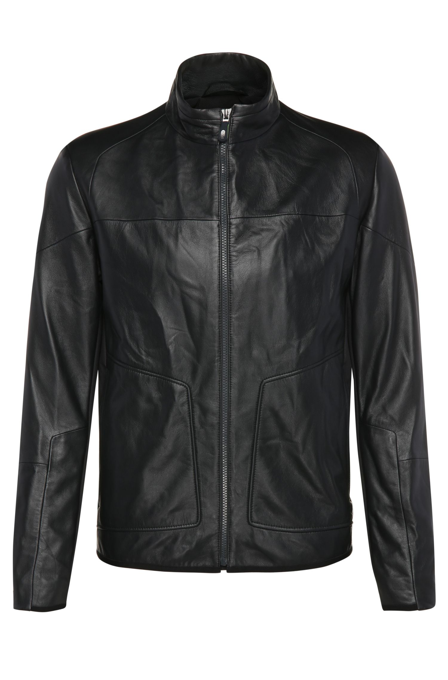 Slim-fit biker jacket in leather and textured fabric: 'Jybrid'