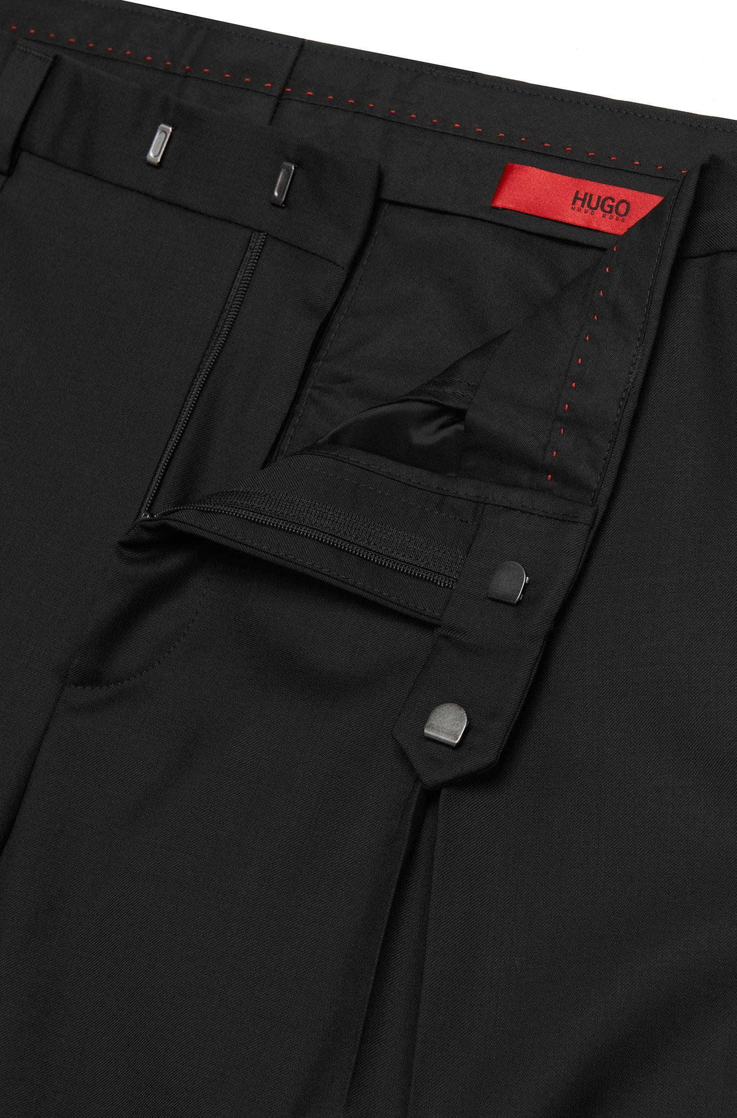 Pantalon Regular Fit en laine vierge à pinces: «Hermand»
