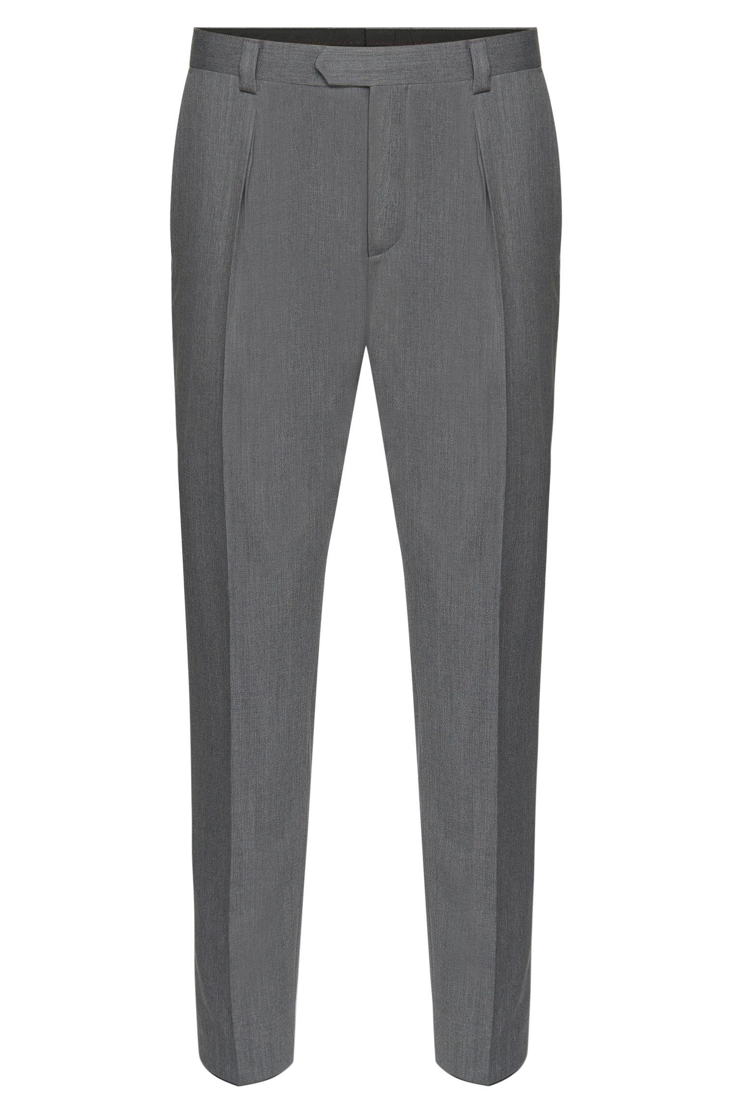 Pantalón regular fit en lana virgen con pinzas: 'Hermand'