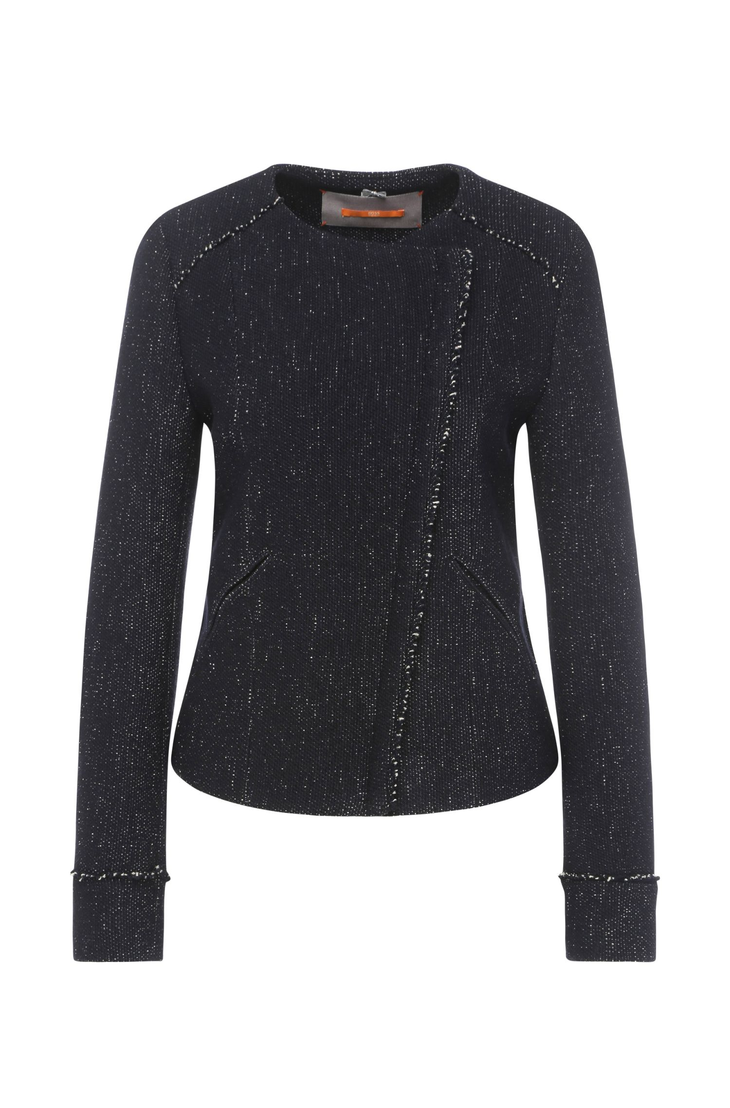 Regular-fit biker jacket in fabric blend with viscose and cotton: 'Obeiky'