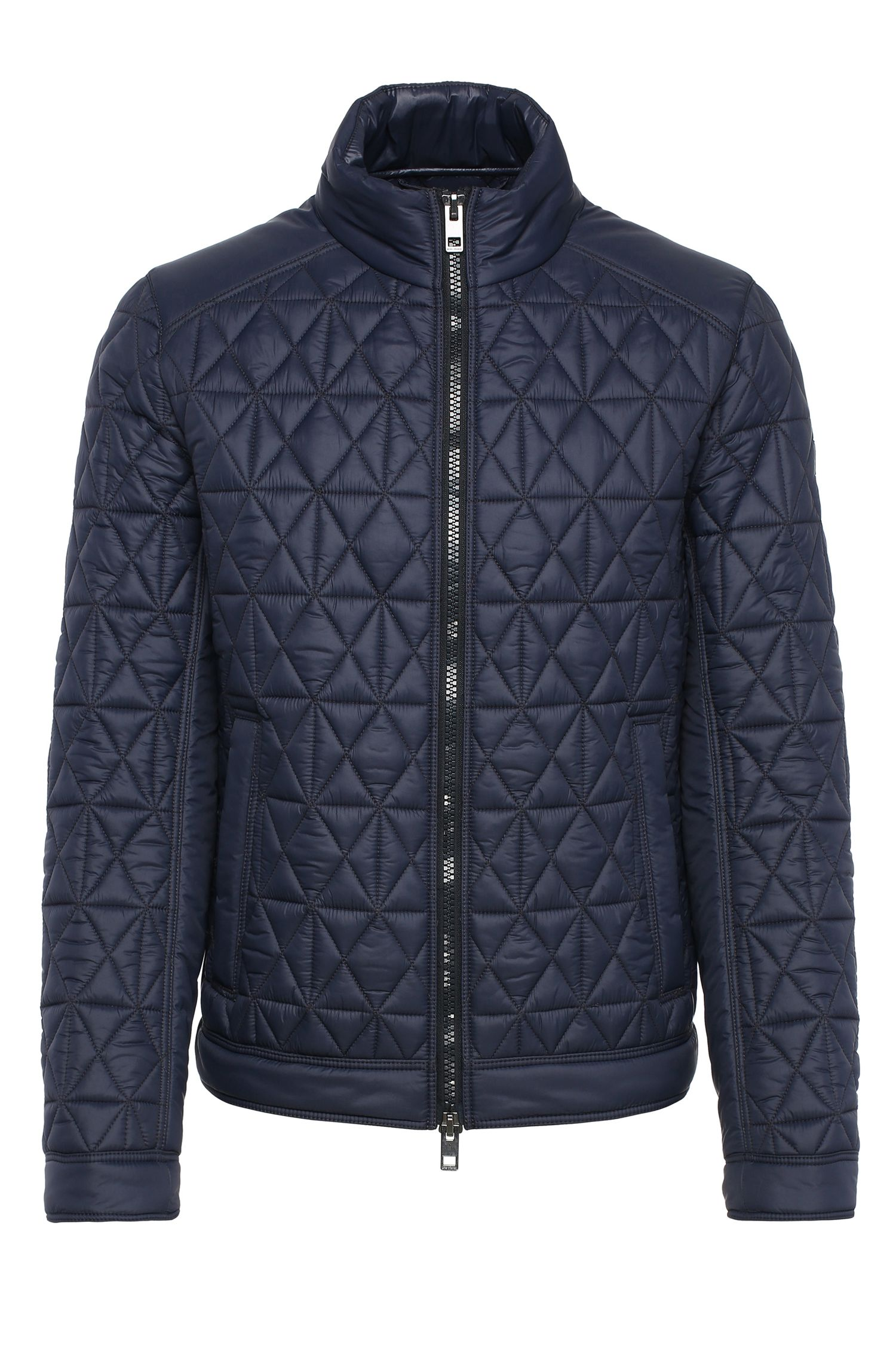 Slim-fit biker jacket in a padded and quilted fabric: 'Obray'