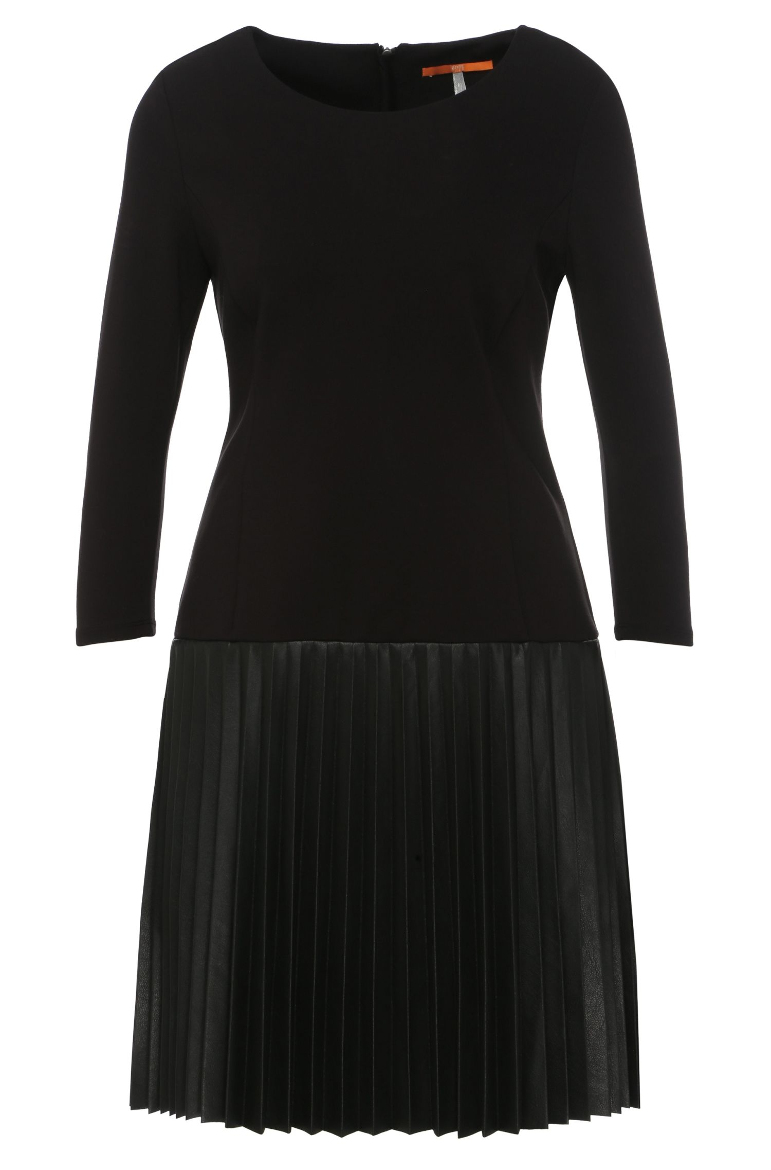 Regular-fit dress in fabric blend with the skirt in leather effect: 'Apliti'