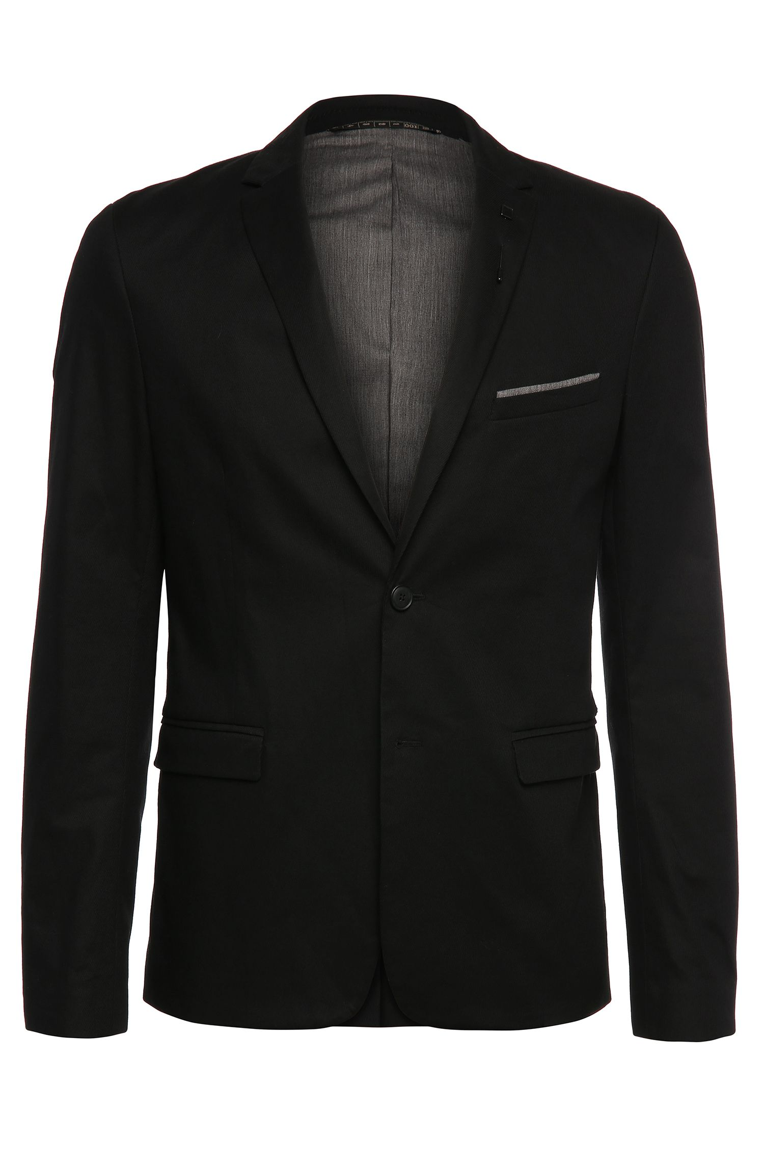 Slim-fit jacket in stretch cotton with a pin and pocket square: 'Benestretch6'