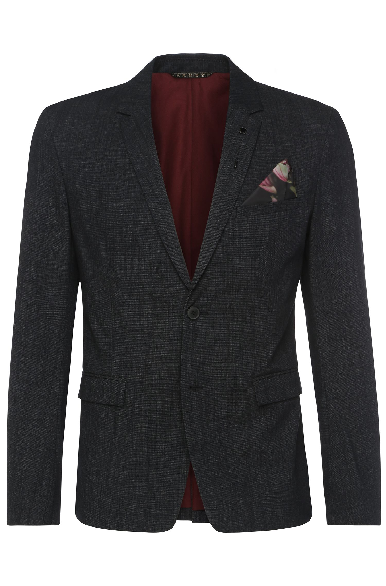 Textured slim-fit jacket in stretch cotton blend: 'Bistock_BS'