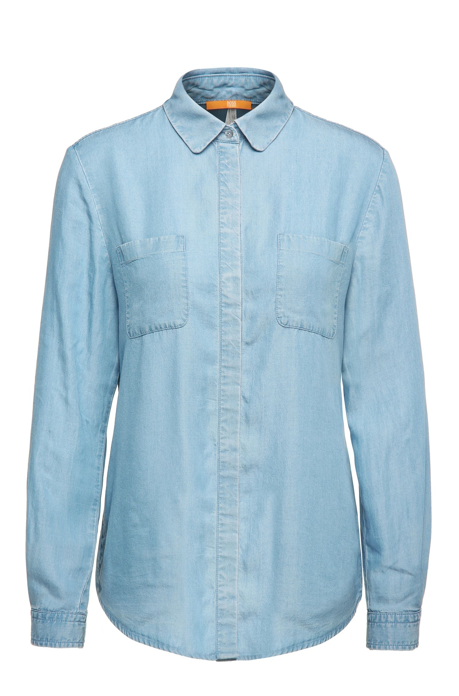Relaxed-Fit Bluse aus Material-Mix in Denim-Optik: ´Ejey2`