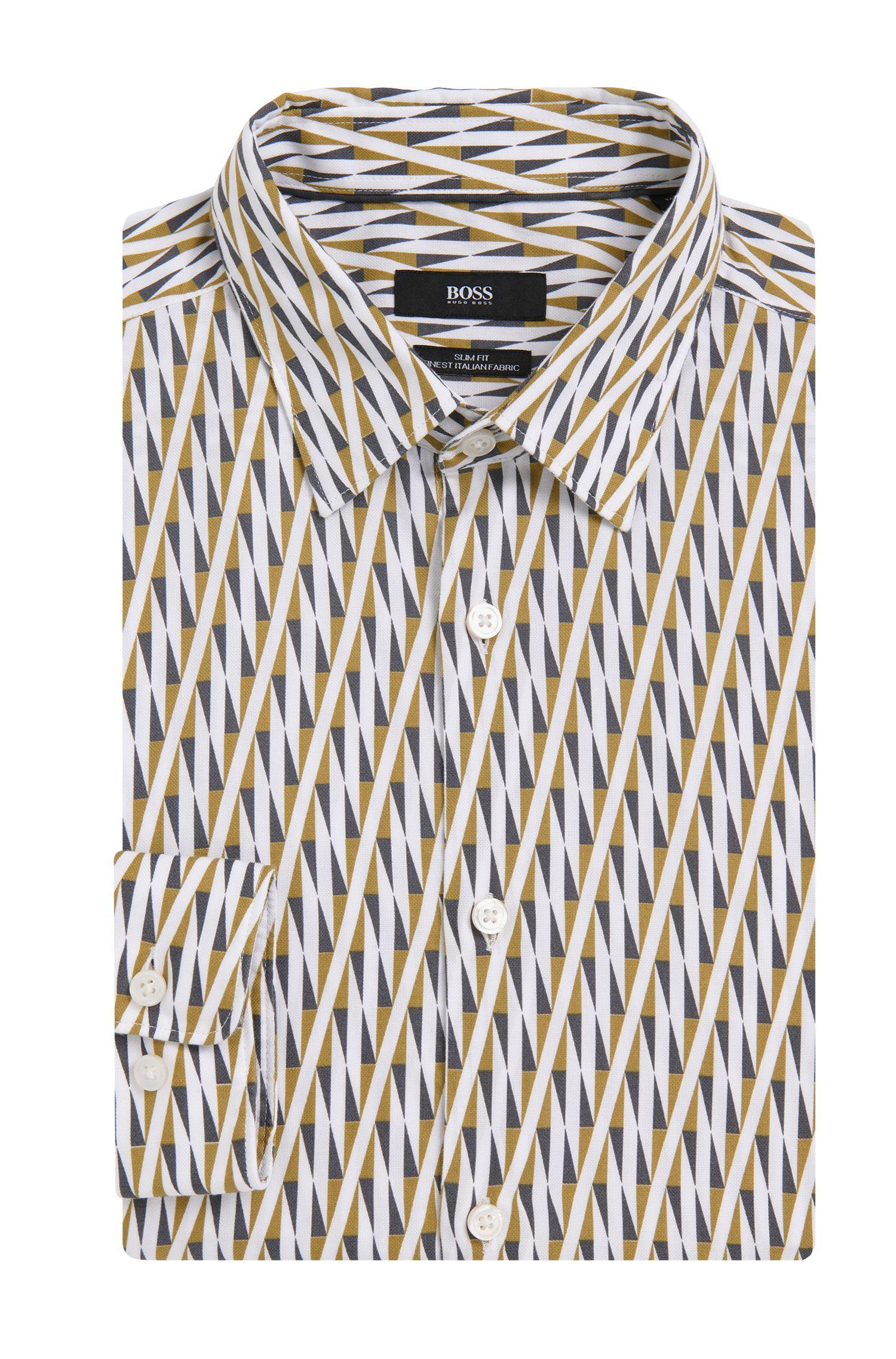 Slim-fit overhemd van zuivere katoen met dessin: 'Ronni_F'