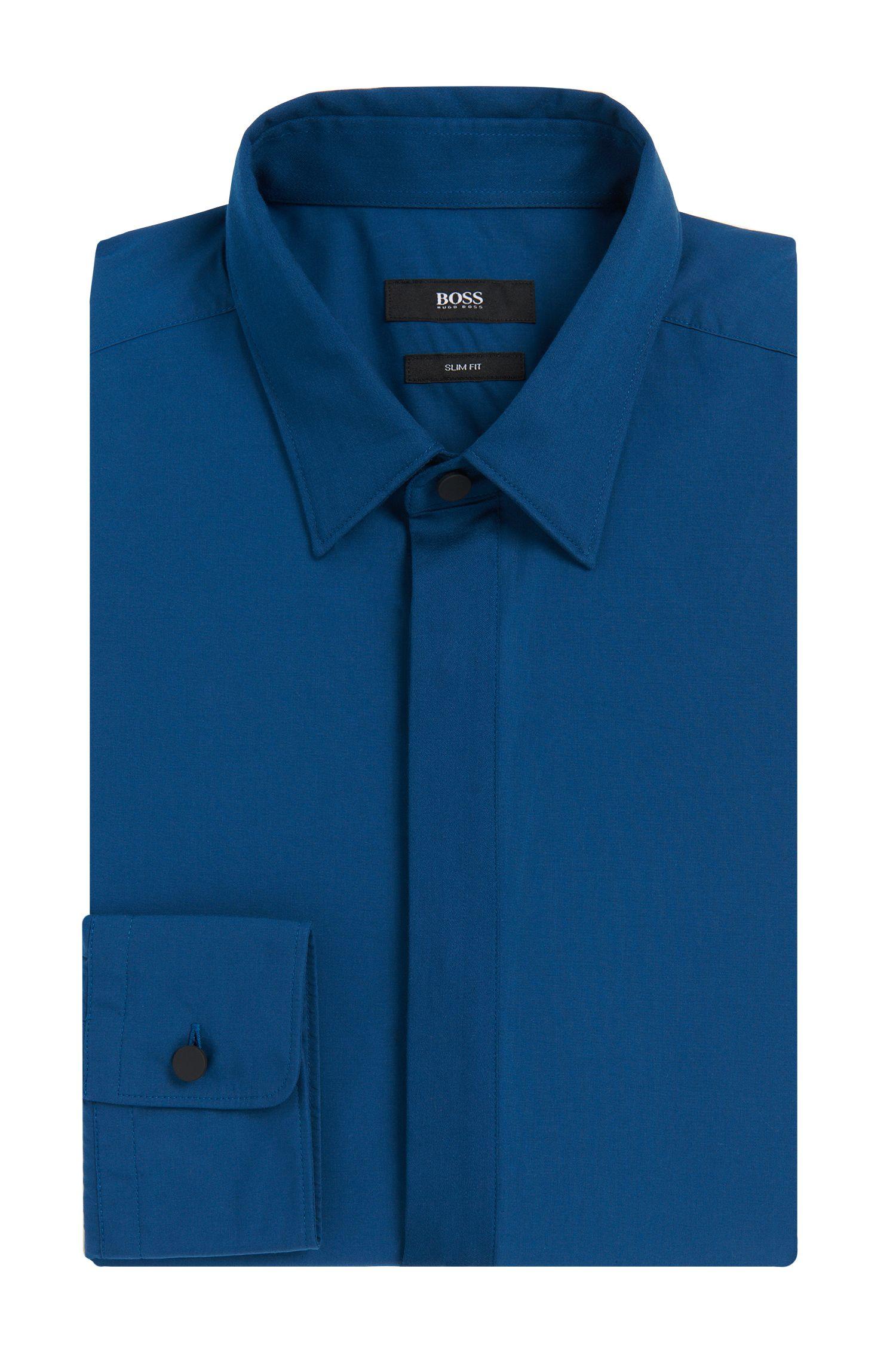 Slim-fit overhemd van katoen met plastron: 'Rosario'