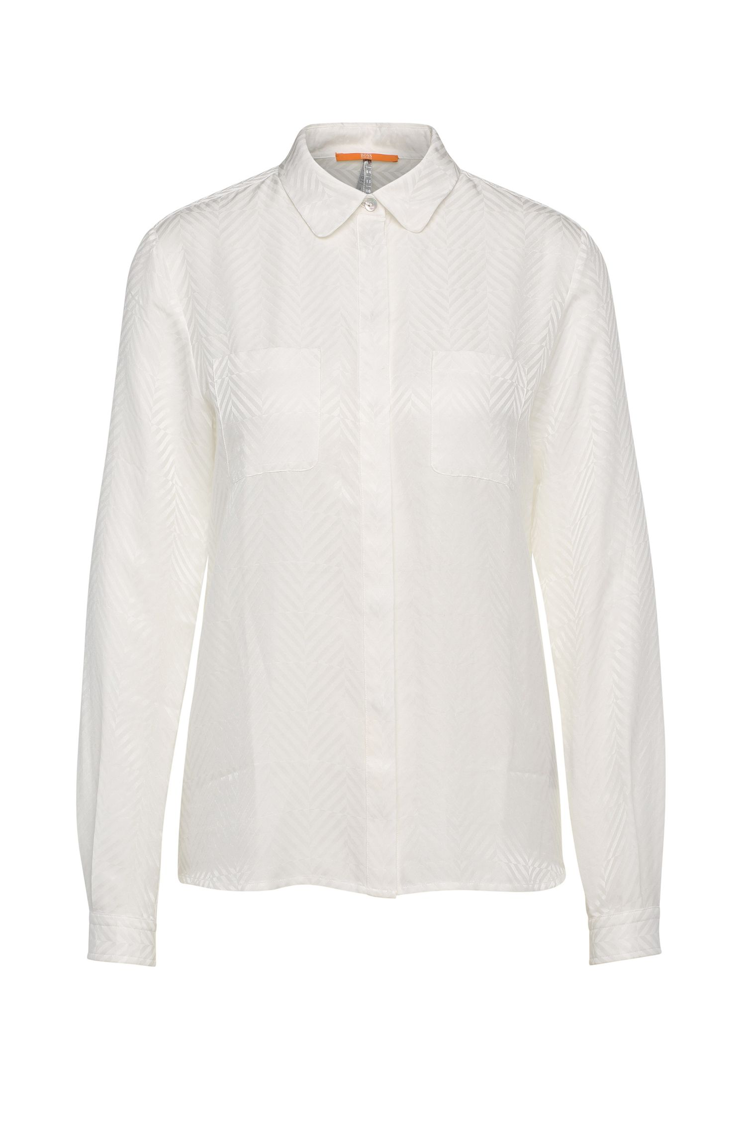 Textured relaxed-fit blouse in cotton blend with silk: 'Ejey2'
