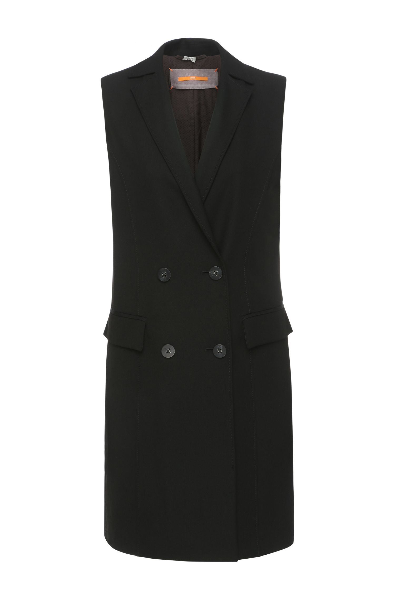 Long waistcoat in a fabric blend with viscose and elastane: 'Ovesta'