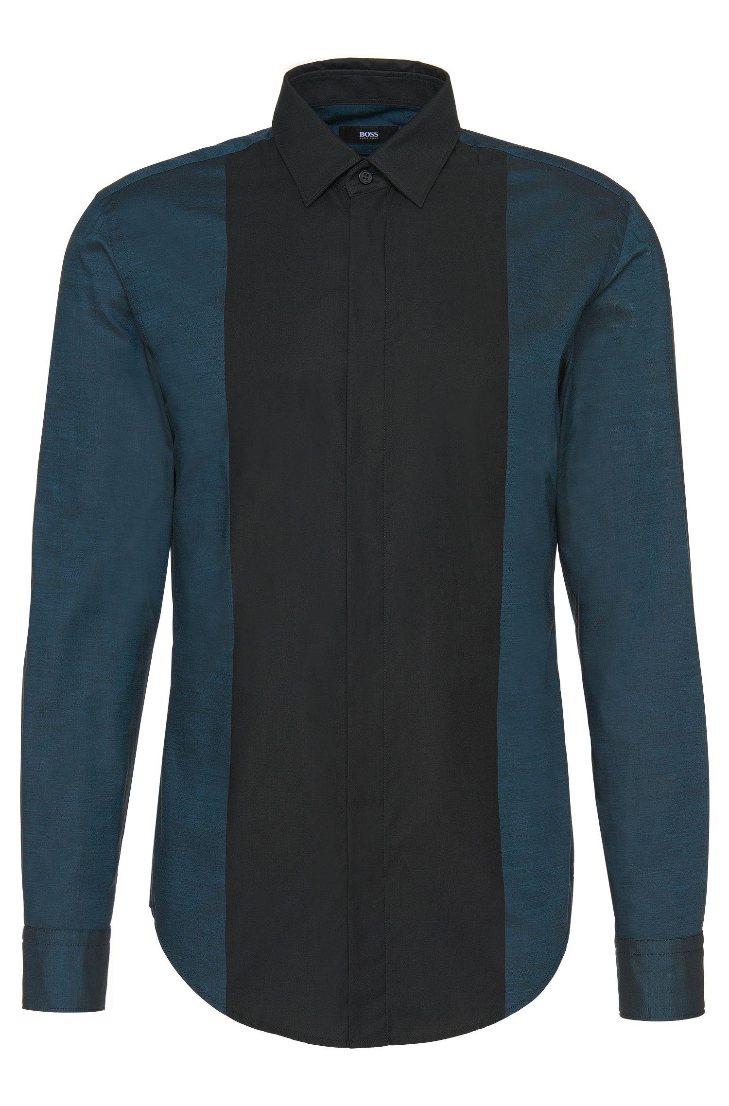 Slim-Fit Hemd aus Baumwolle mit breitem Kontrast-Streifen: 'Ronni_H'