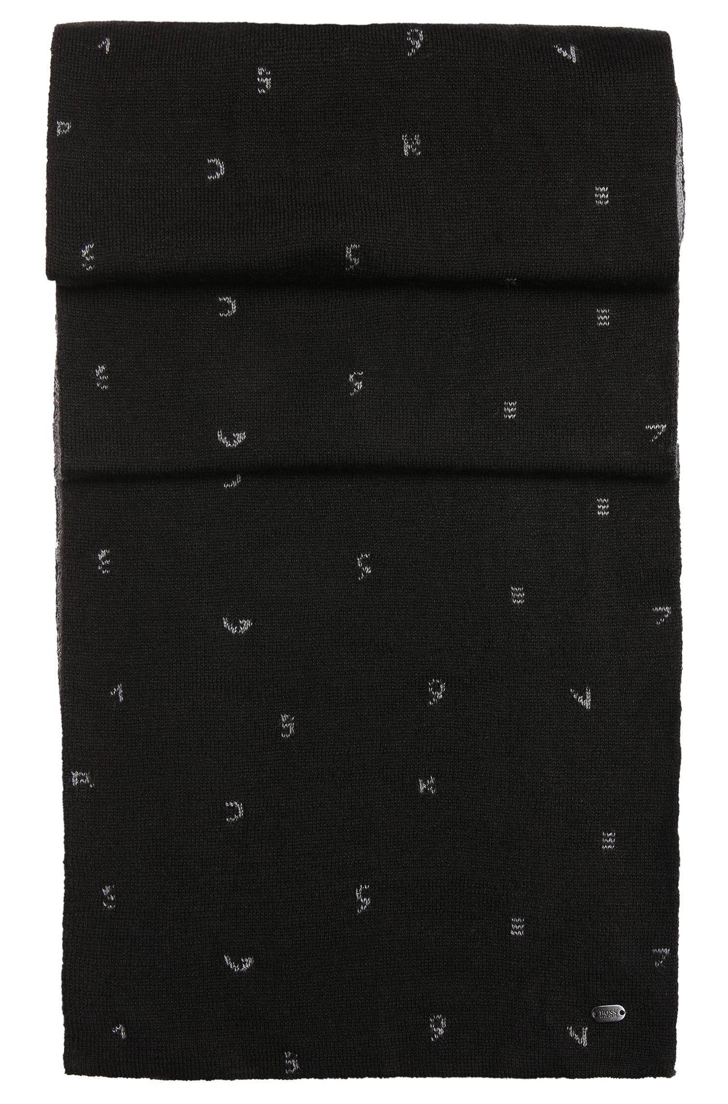 Tweezijdig te dragen sjaal van een wolmix met dessin: 'Scarf-Typoknit'