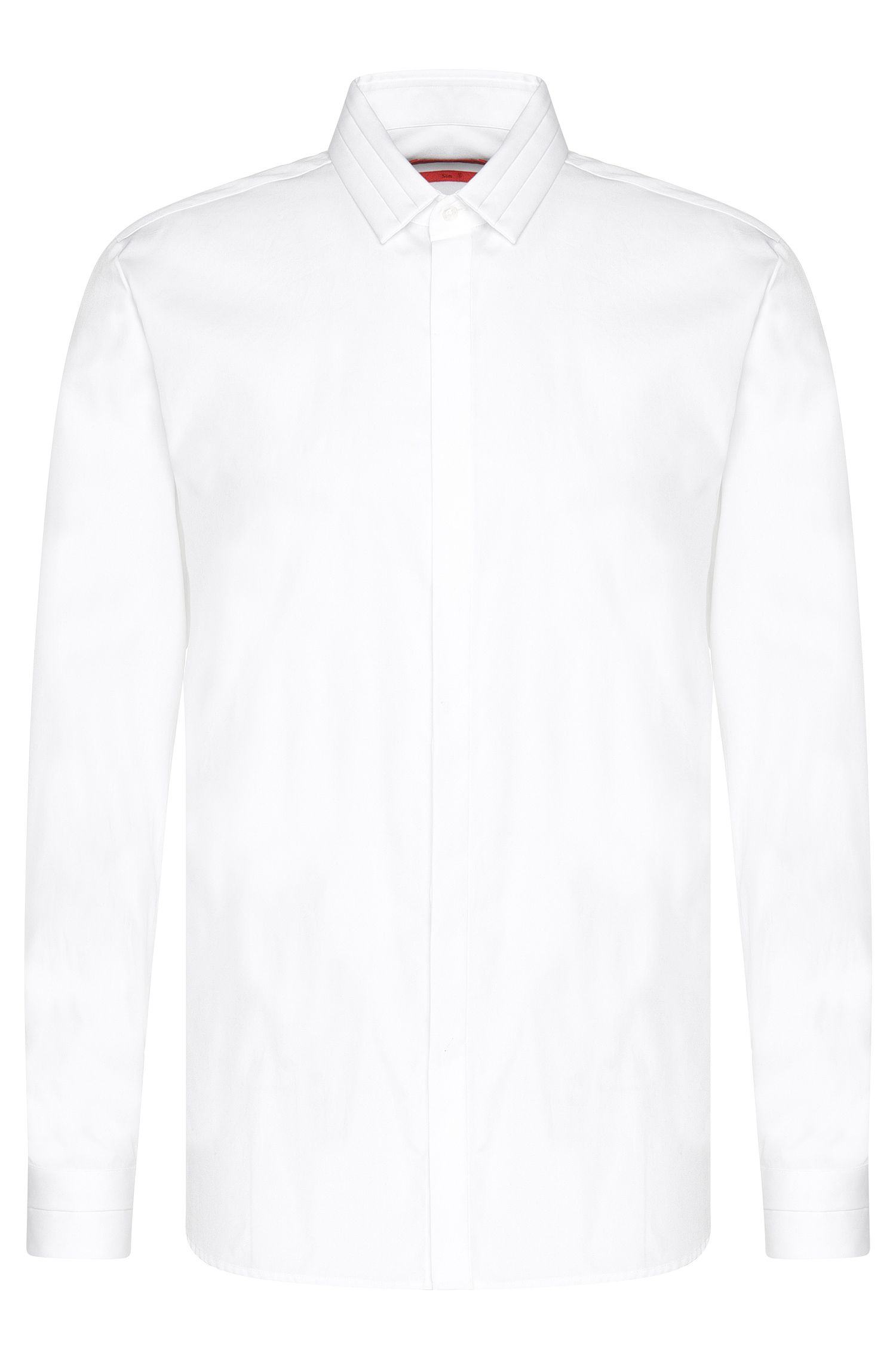 Plain slim-fit cotton shirt: 'Esid'