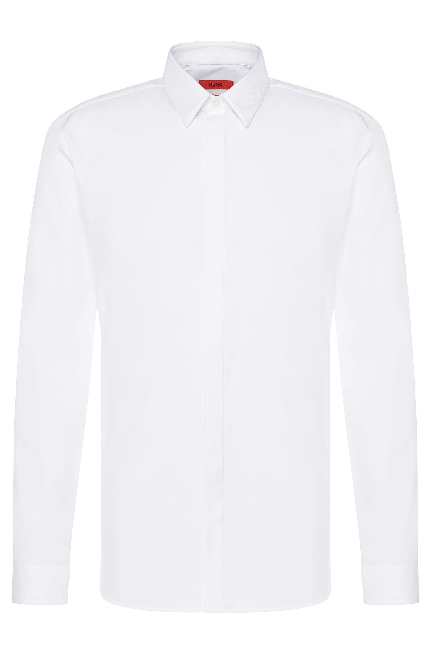 Slim-fit shirt in cotton with textured trim: 'Ephil'