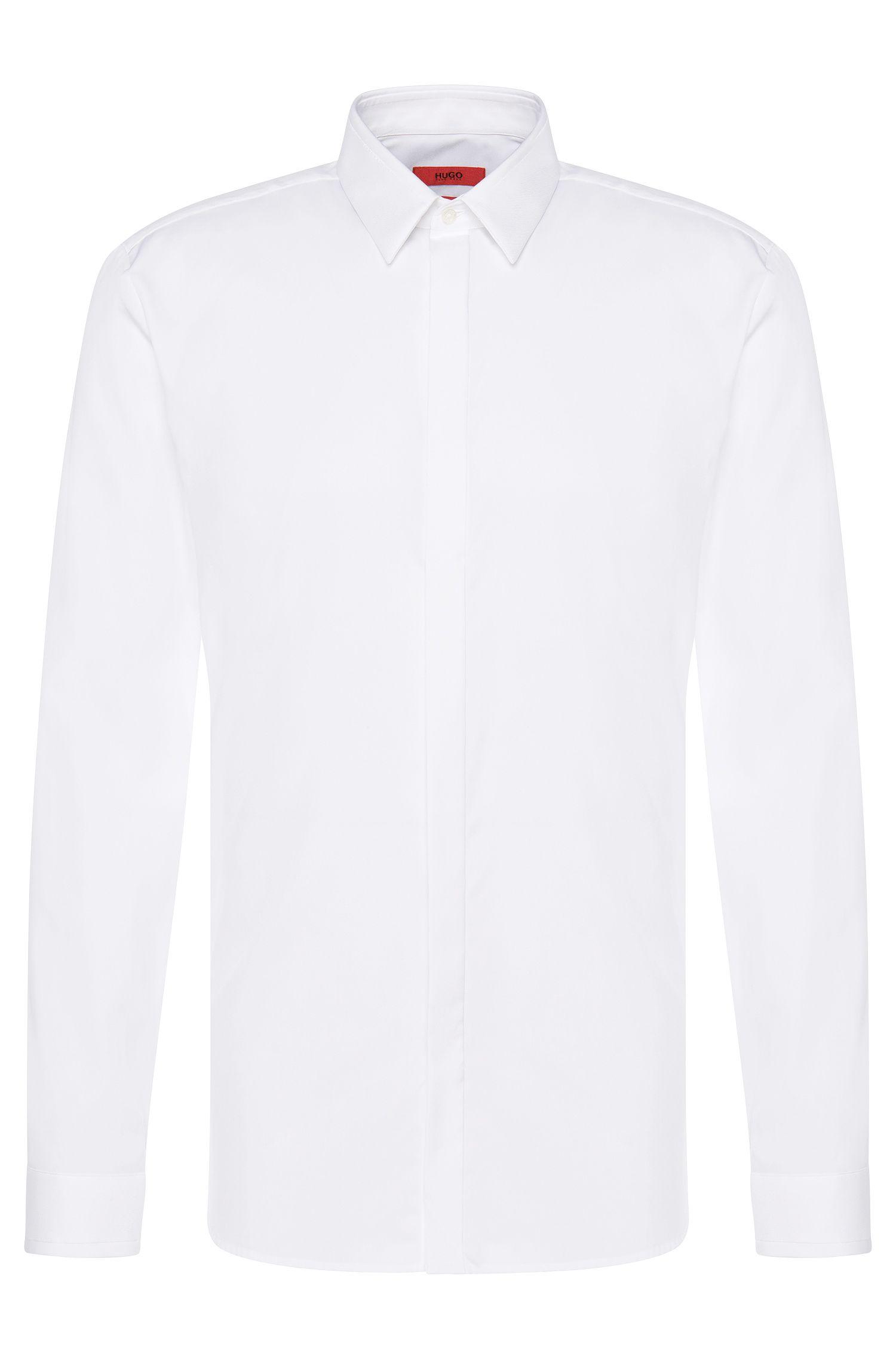 Slim-fit overhemd van katoen met structuurbeleg: 'Ephil'