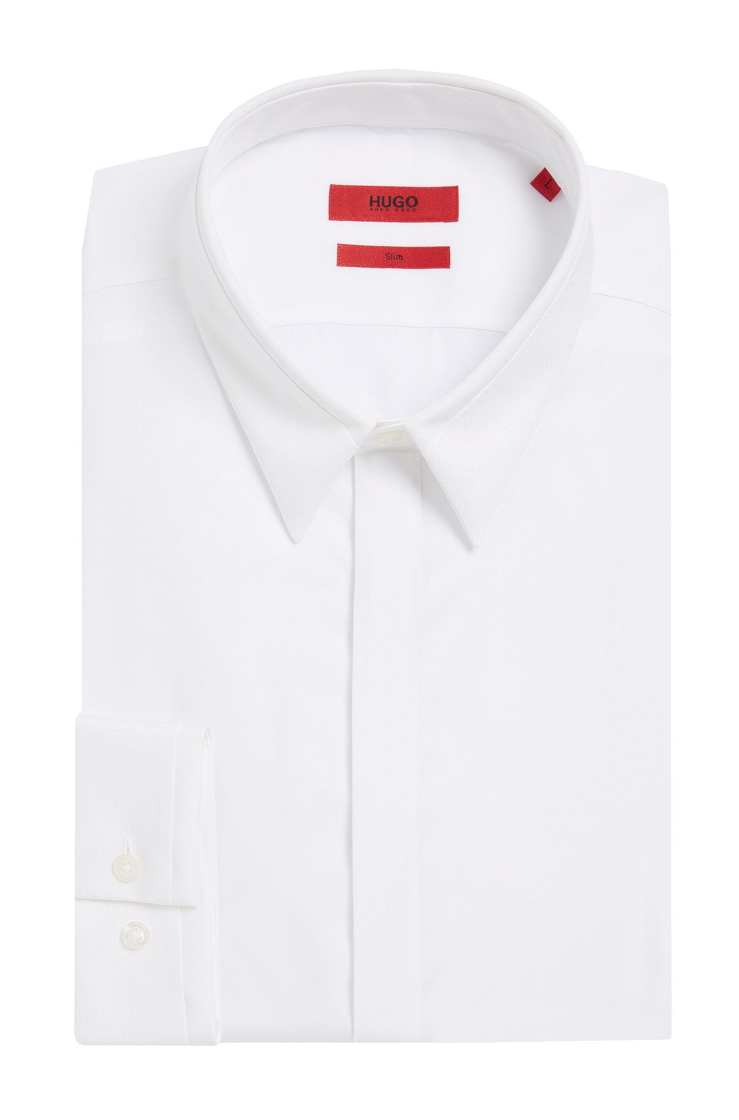 Slim-Fit Hemd aus Baumwolle mit strukturierten Besätzen: 'Ephil'