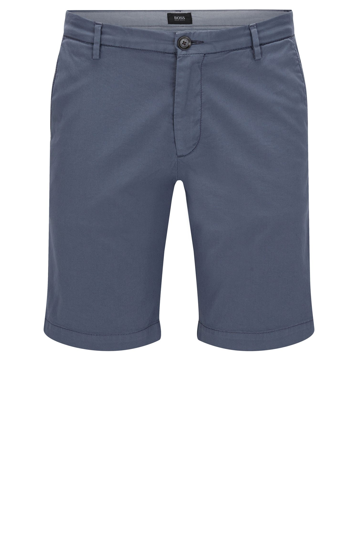 Short uni Slim Fit en coton stretch : « RiceShort3-D »