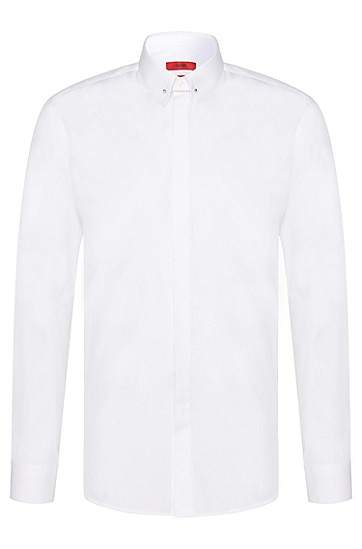 Slim-Fit Hemd aus Baumwolle mit Kragen-Steg: Enzel', Weiß