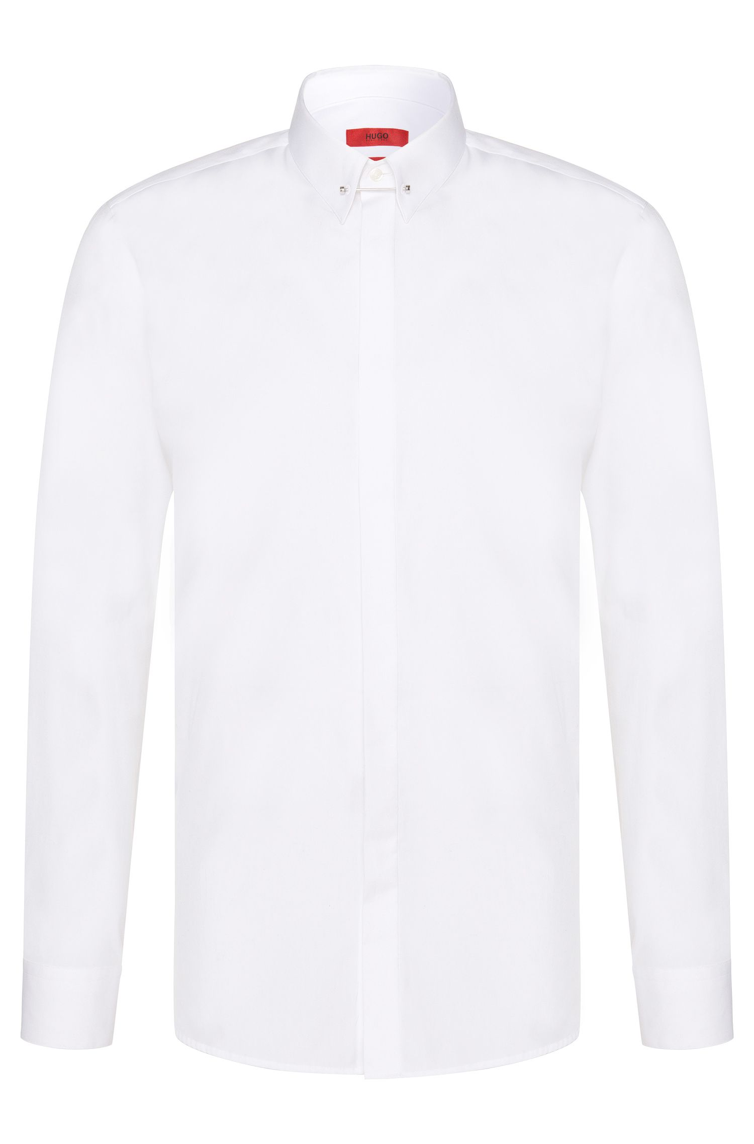 Slim-fit shirt in cotton with collar stand: 'Enzel'