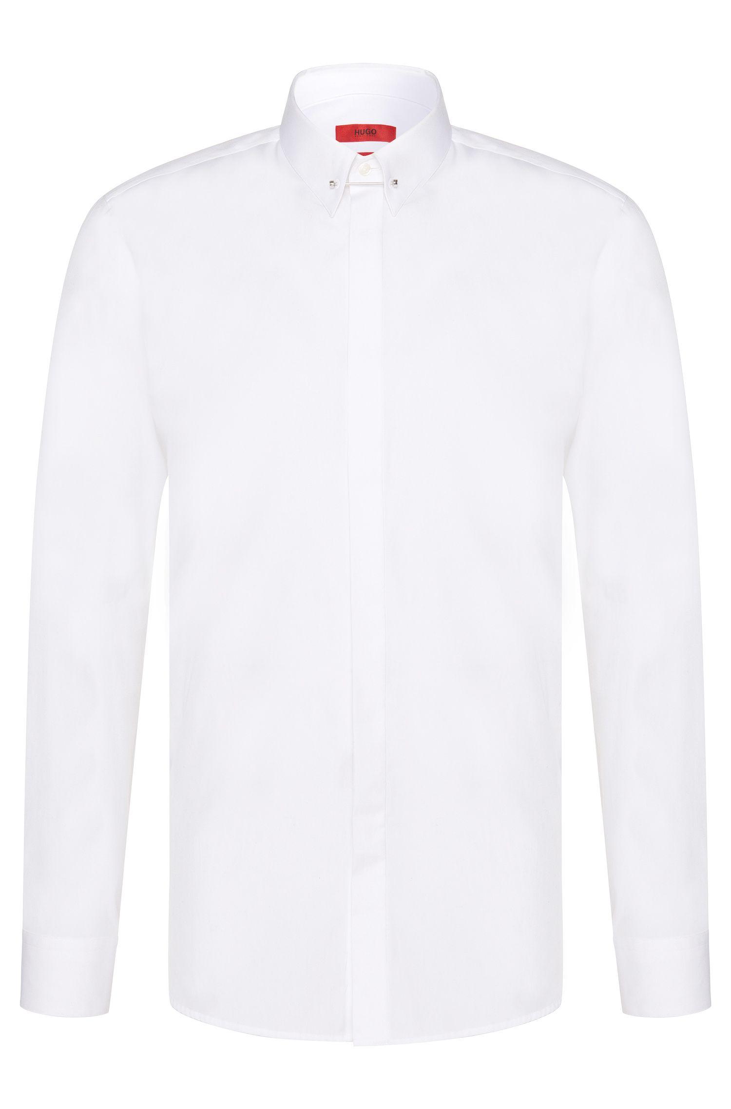 Slim-fit overhemd van katoen met kraagboord: 'Enzel'