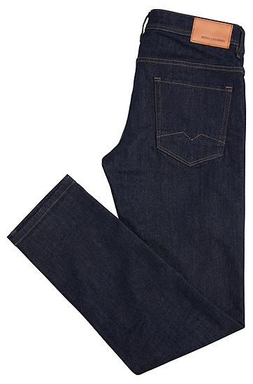 Tapered-Fit Jeans aus elastischem Baumwoll-Mix mit Kontrastnähten: ´Orange90`, Dunkelblau