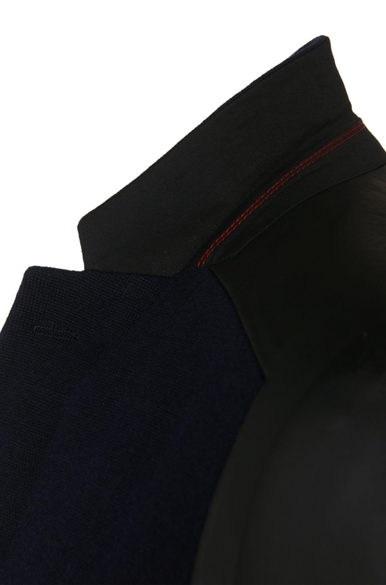 Veste de costume en maille Slim Fit en laine vierge mélangée dotée de manches à effet cuir: «Arvey»