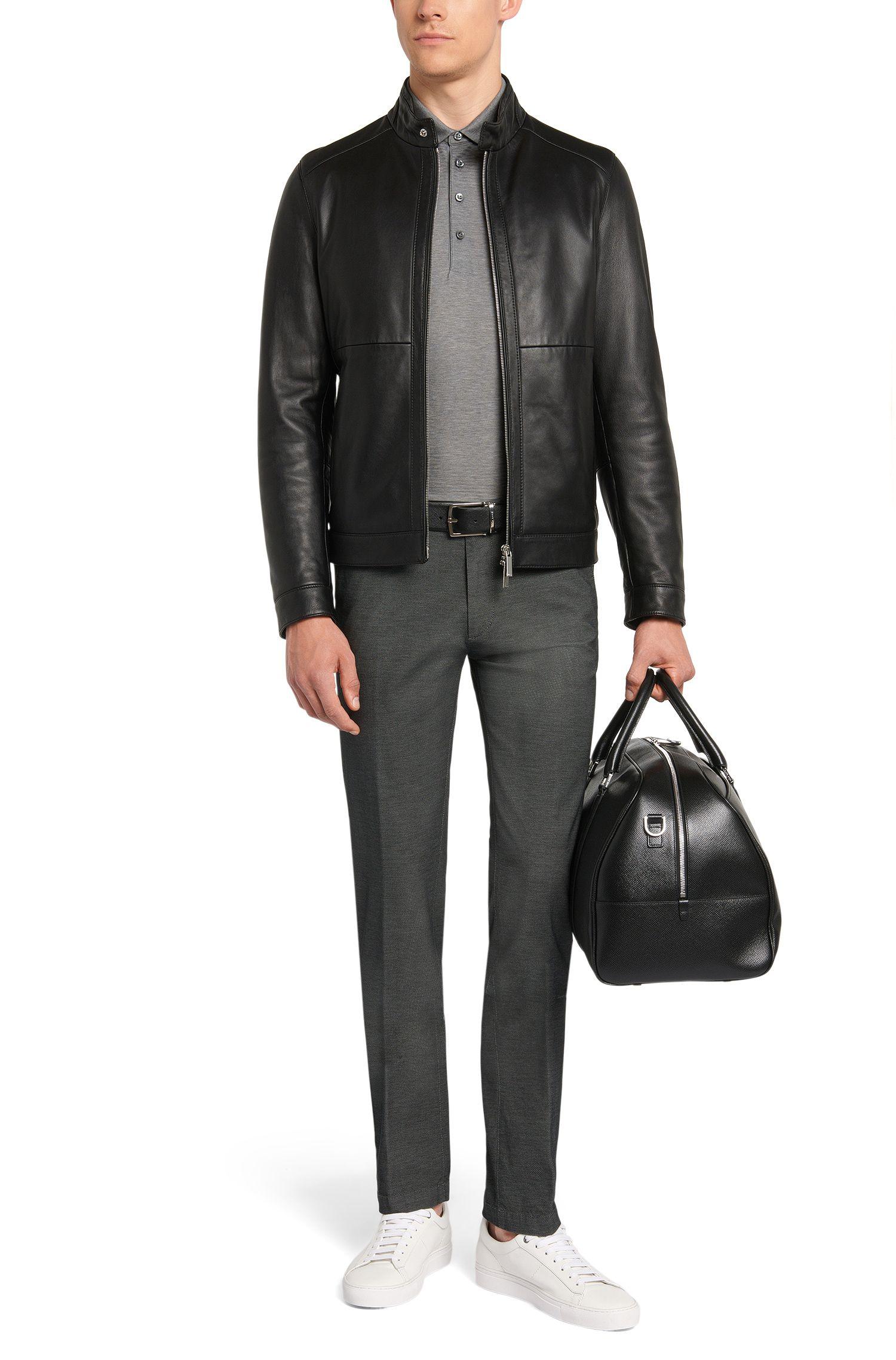 Slim-Fit Hose aus Stretch-Baumwolle mit feinem Strukturmuster: 'Rice3-W'