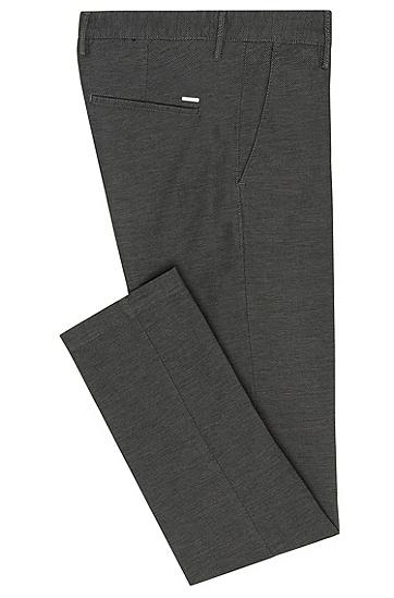 Slim-Fit Hose aus Stretch-Baumwolle mit feinem Strukturmuster: 'Rice3-W', Grau