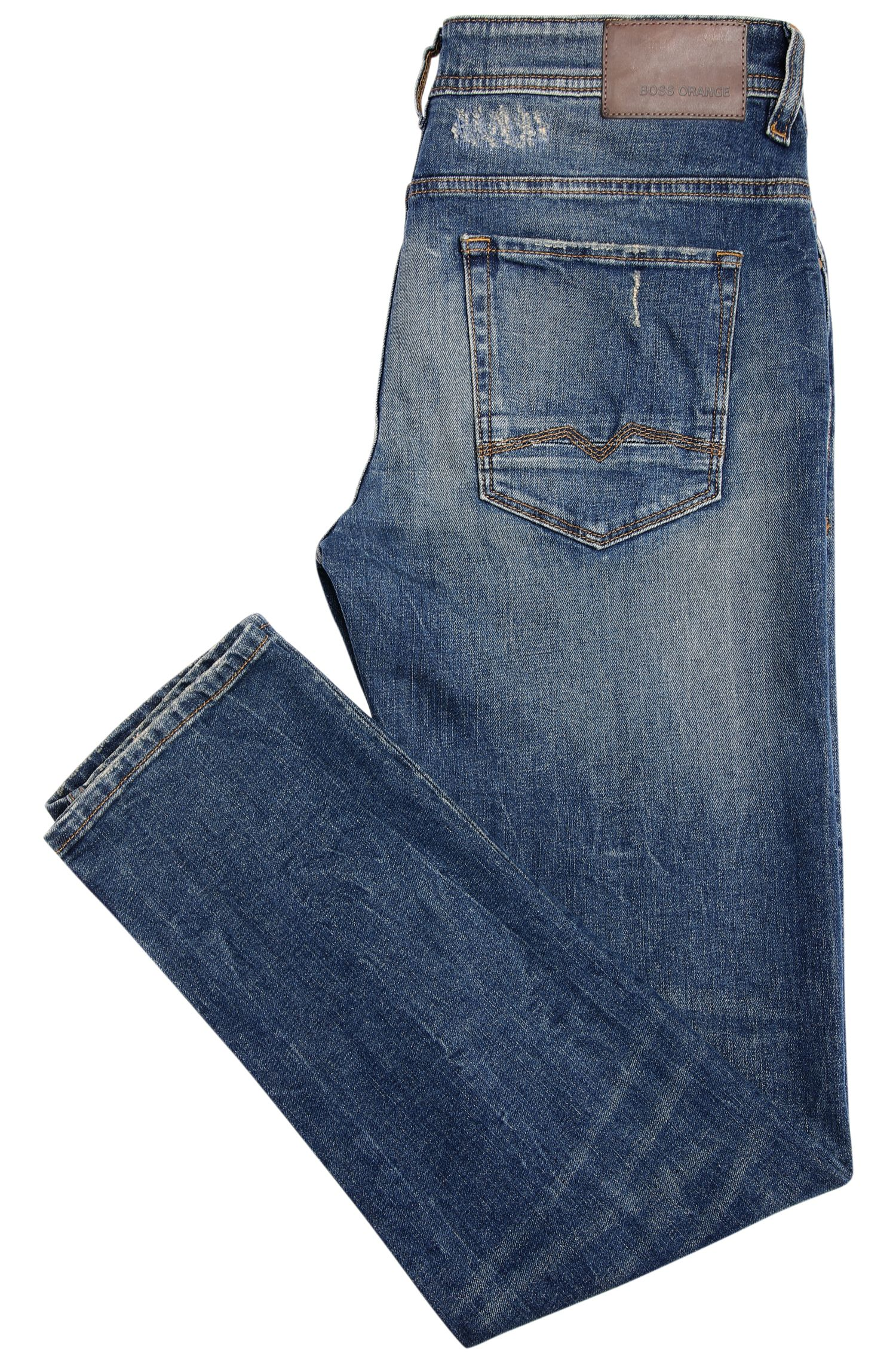 Jeans Tapered Fit en coton extensible avec effets destroyed : « Orange90 »