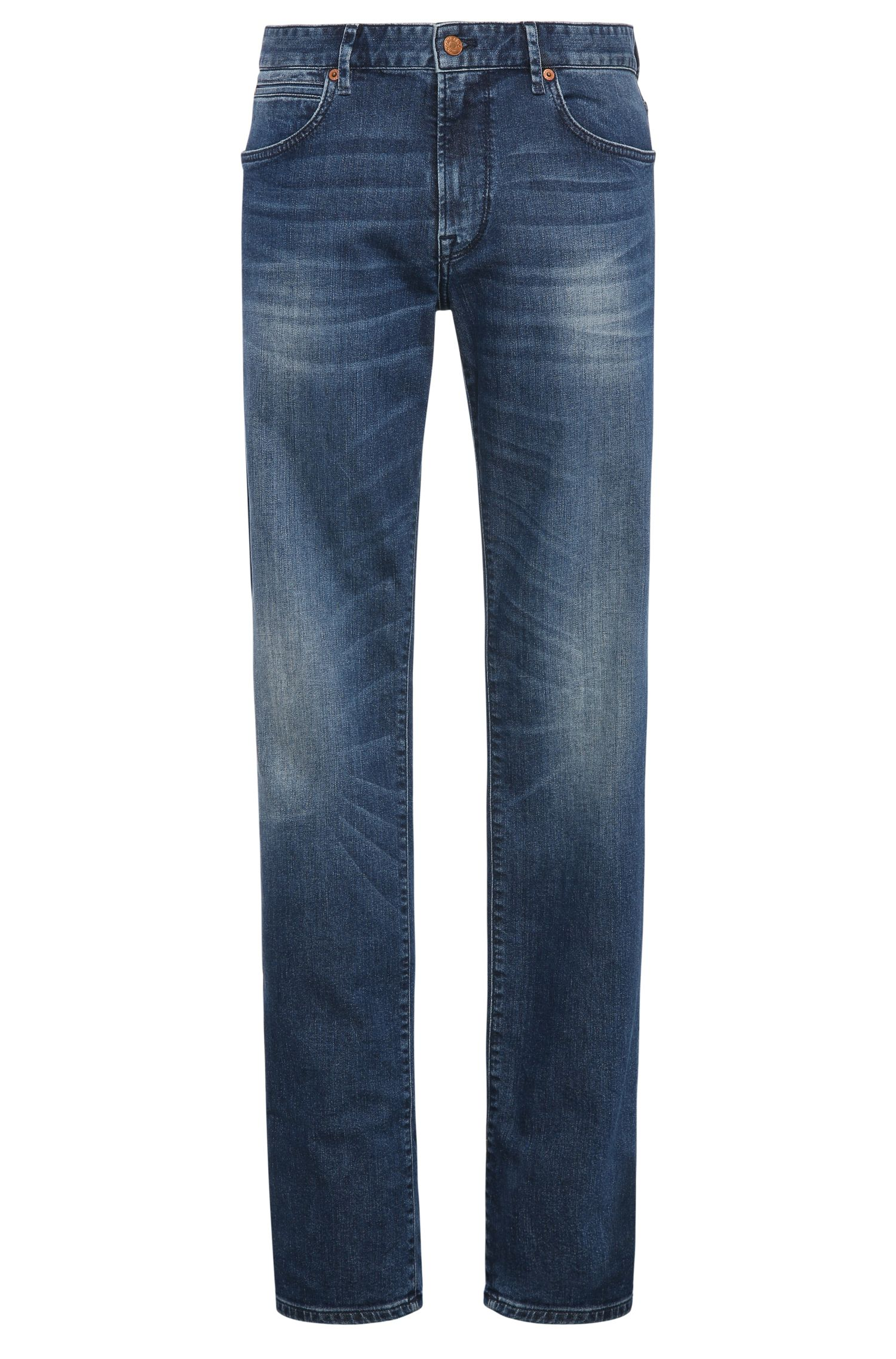 Tapered-fit jeans in stretch cotton with distressed look: 'Orange90'